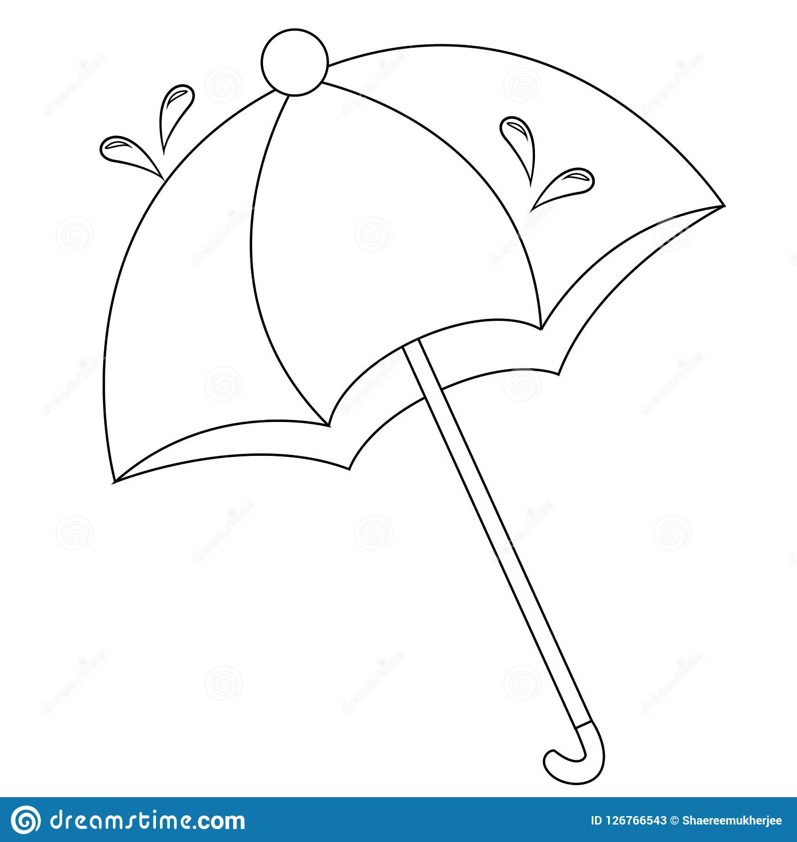 Umbrella Coloring Page For Kids Stock Vector - Illustration of ...