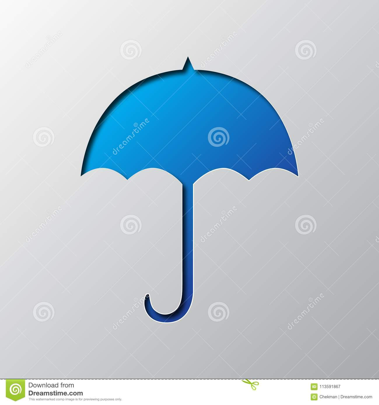Bright Blue Umbrella Out Of Paper Vector Illustration Is Cut From Icon With Shadow