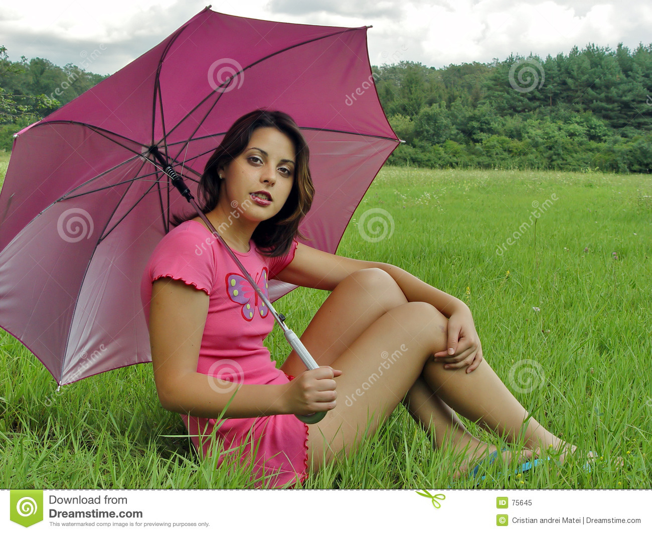 Umbrella girl stock image. Image of colorful, butterfly ...