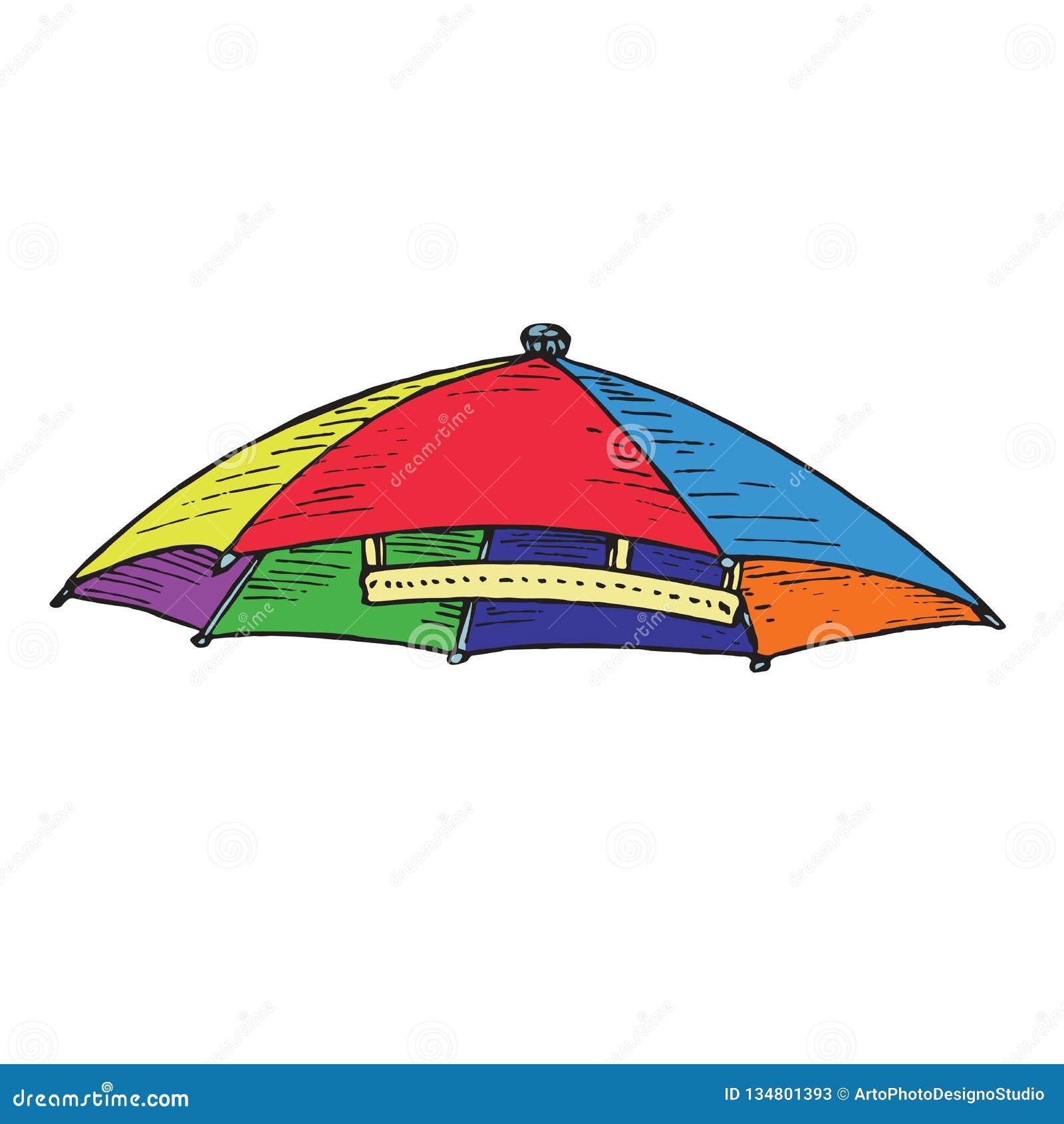 c616ee335f5e3 Umbrella Hat Of All Colors Of Rainbow