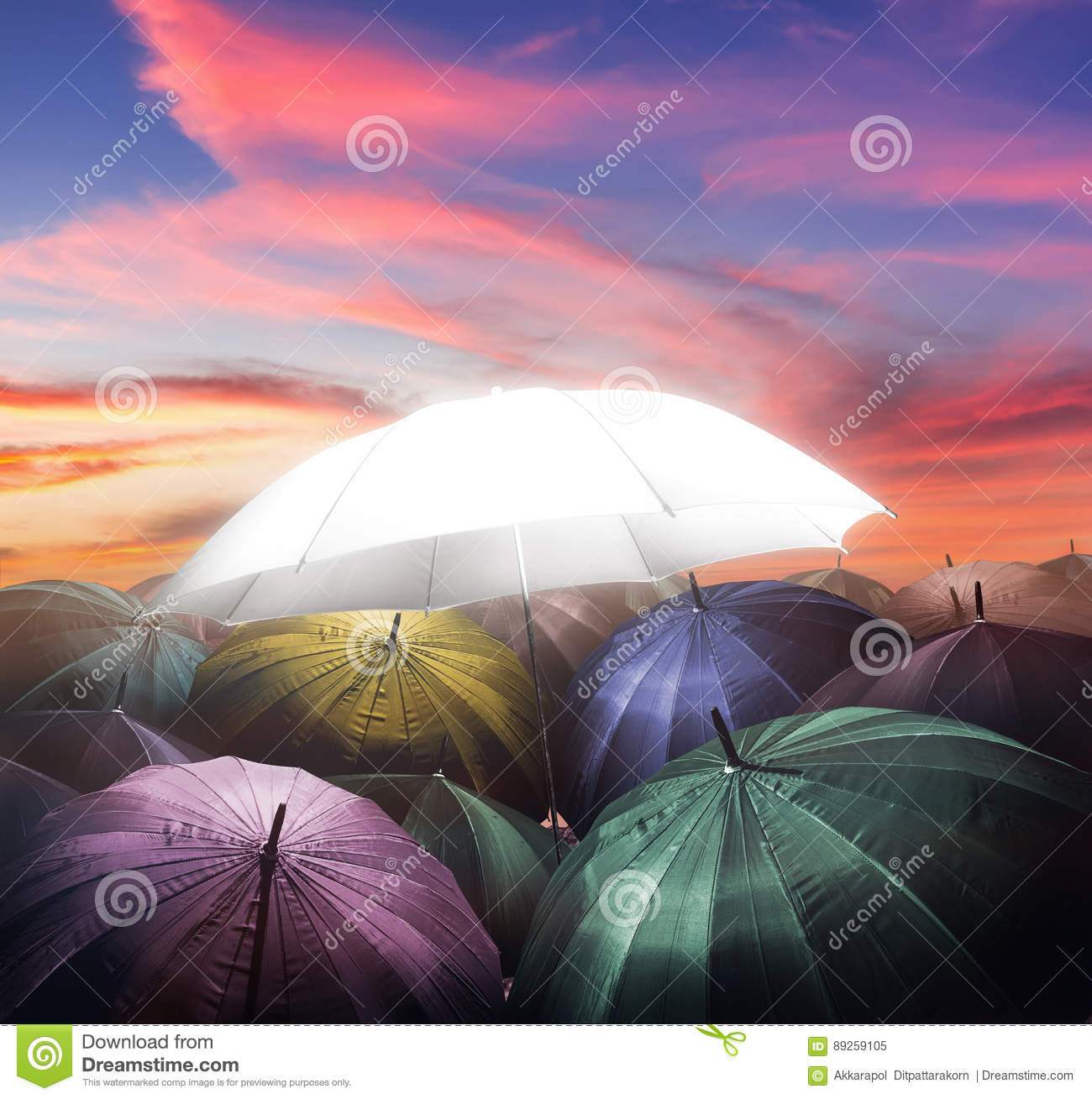 umbrella lights glowing standing out from crowd of dark umbrella