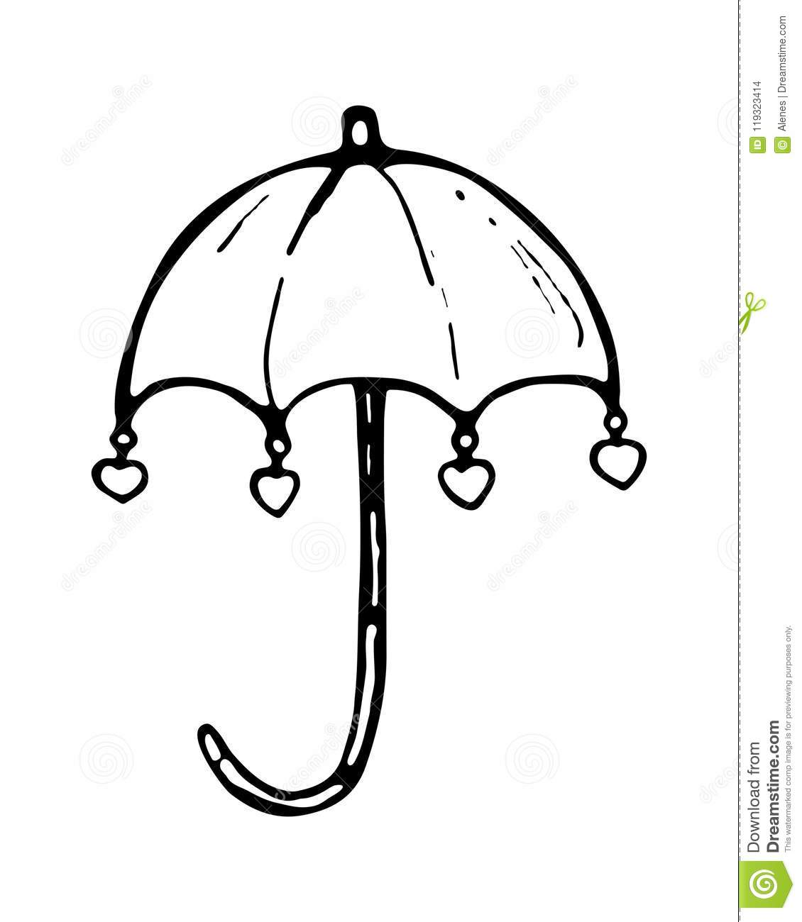 Umbrella With Love Hearts. Hand Drawn Illustration. Icon, Logo ...