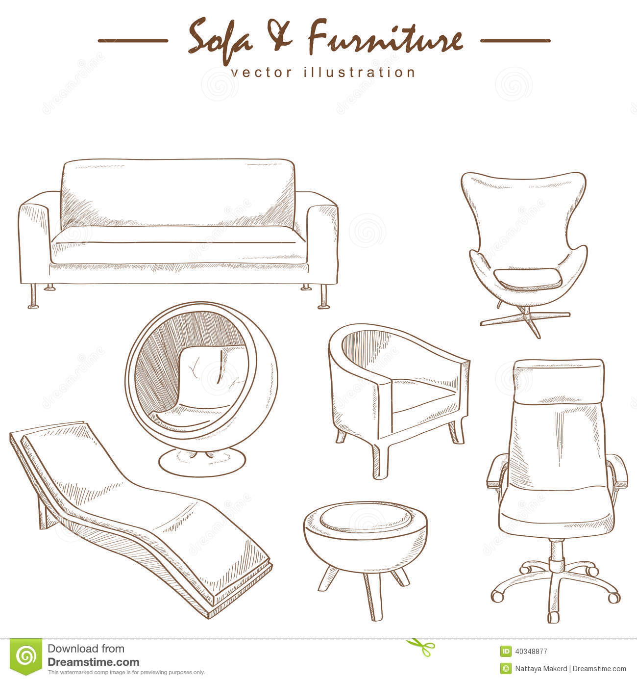 Furniture collection sketch drawing vector stock vector for Furniture sketch design
