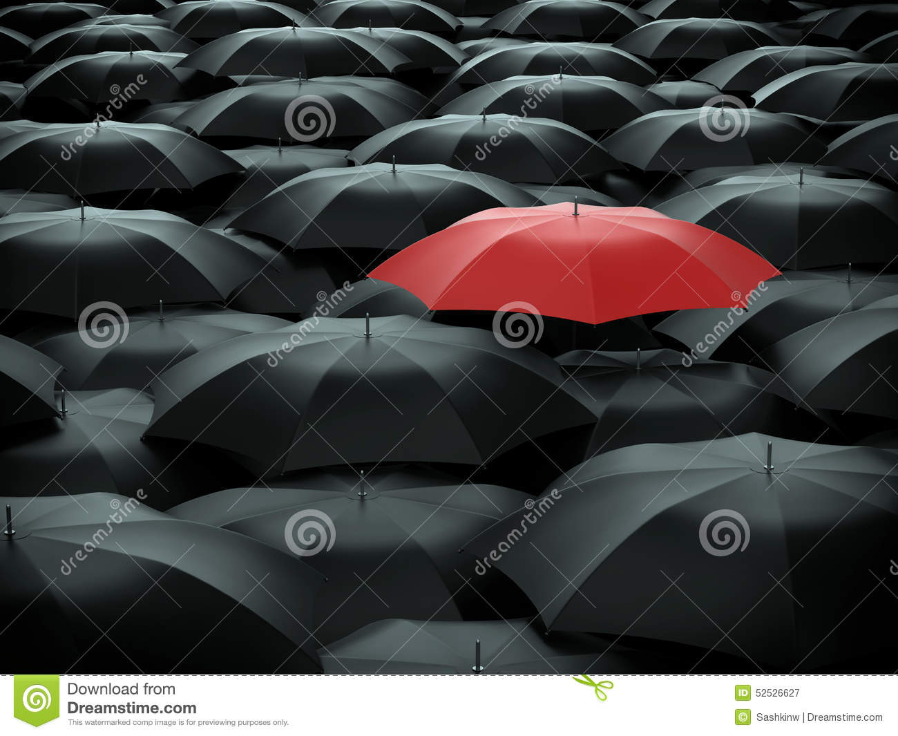 Umbrella over many black umbrellas