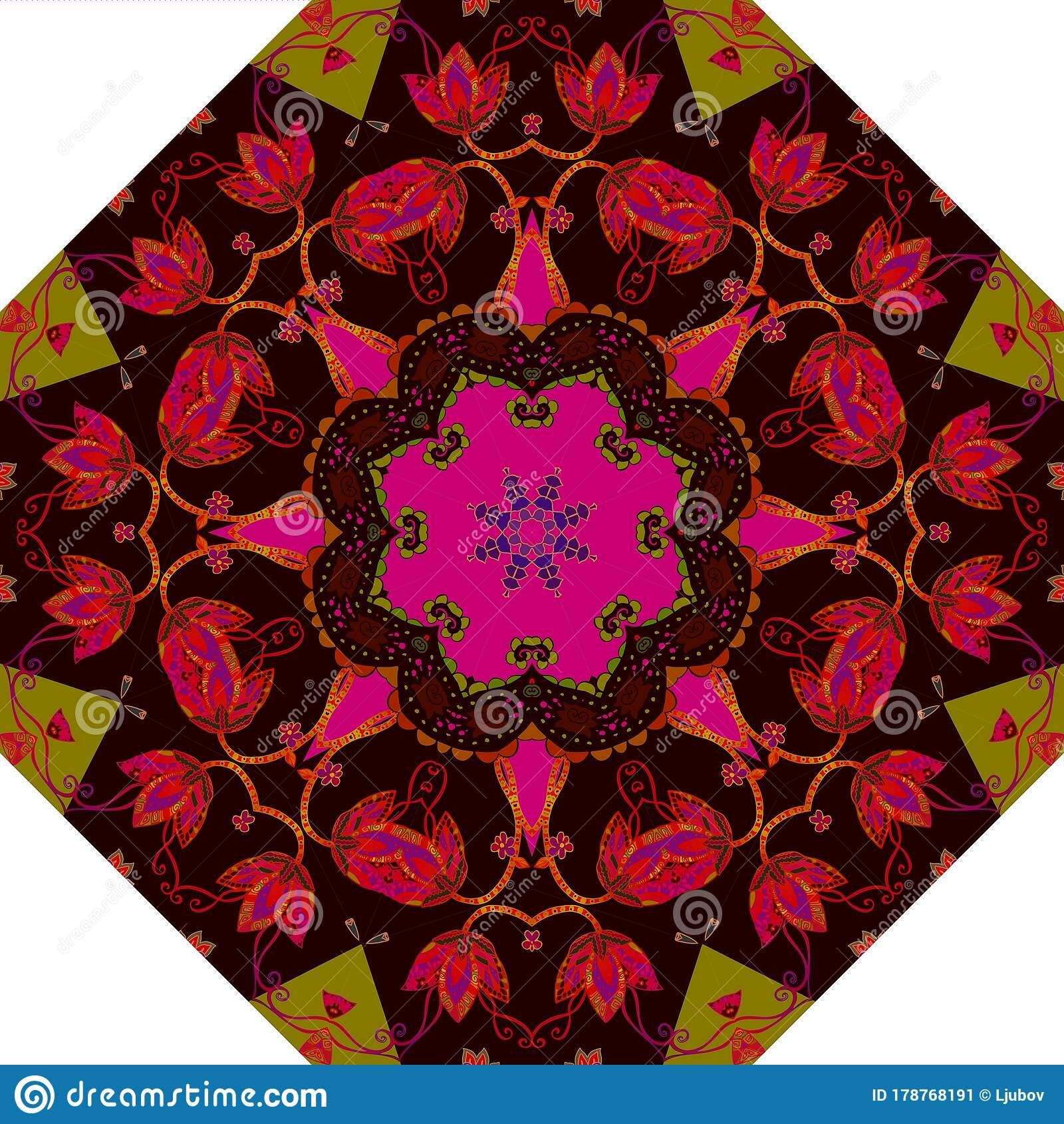Picture of: Umbrella Print With Bright Floral Ornament Octagonal Pattern Rug Carpet Stock Vector Illustration Of Artwork Ornament 178768191