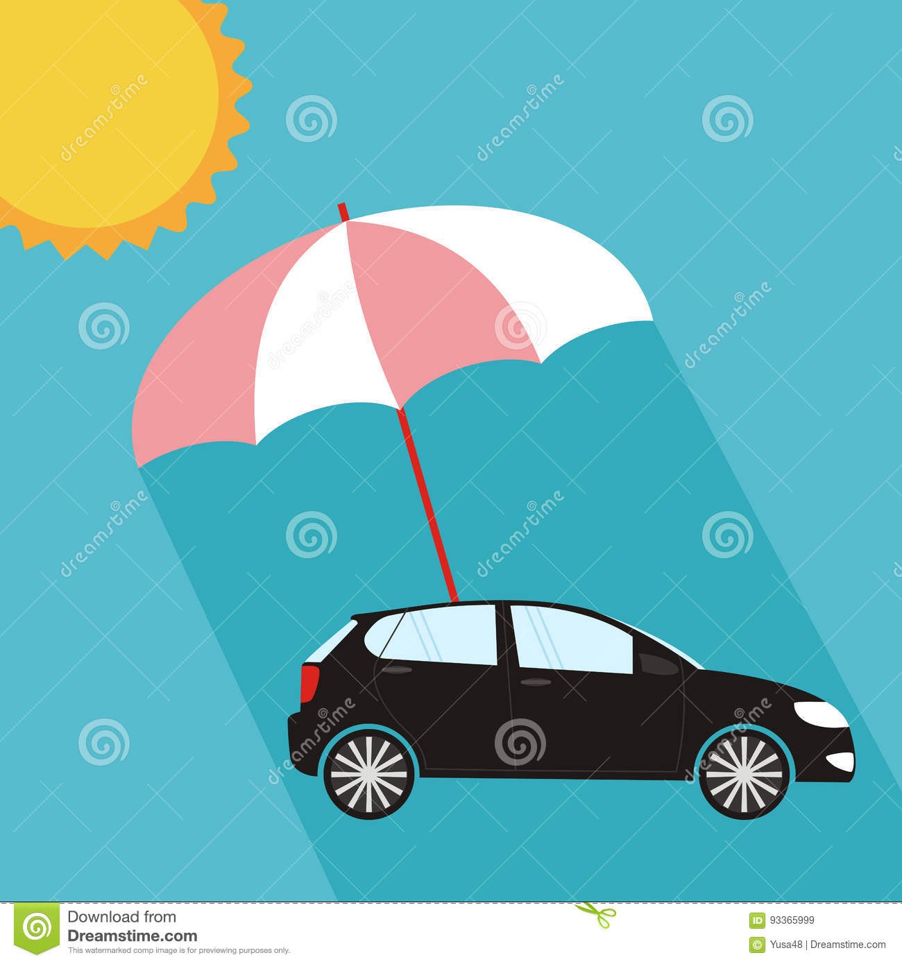 Umbrella Protecting Car Against Sun Flat Style Safety Insurance