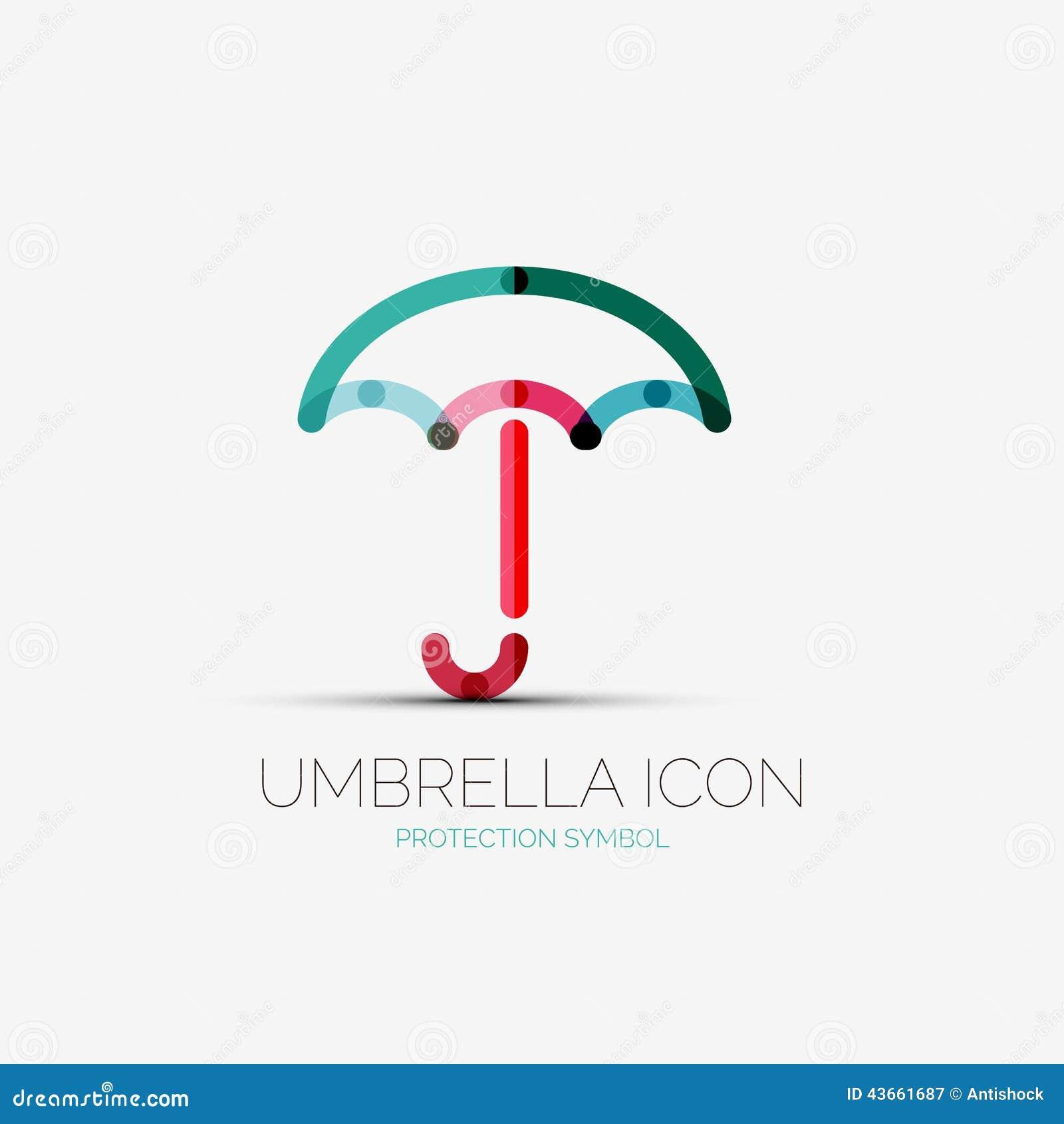 Umbrella Protection Company Logo Concept Stock Vector