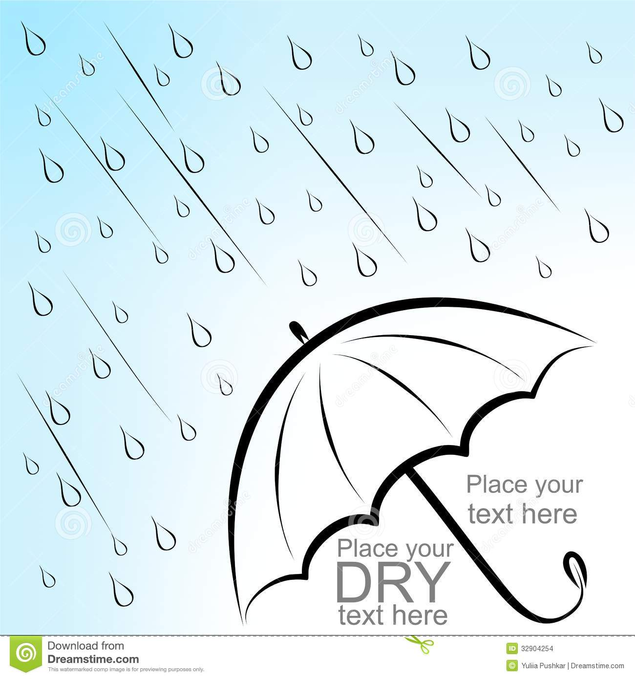 Dry text under umbrella stock vector  Illustration of curve