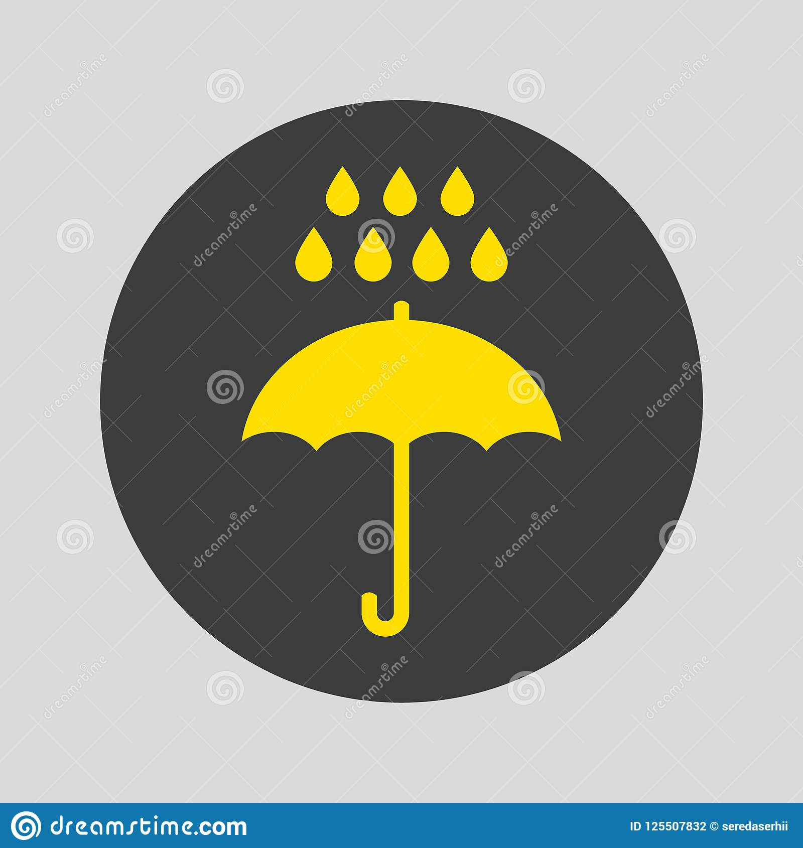 Umbrella and rain icon on gray background.