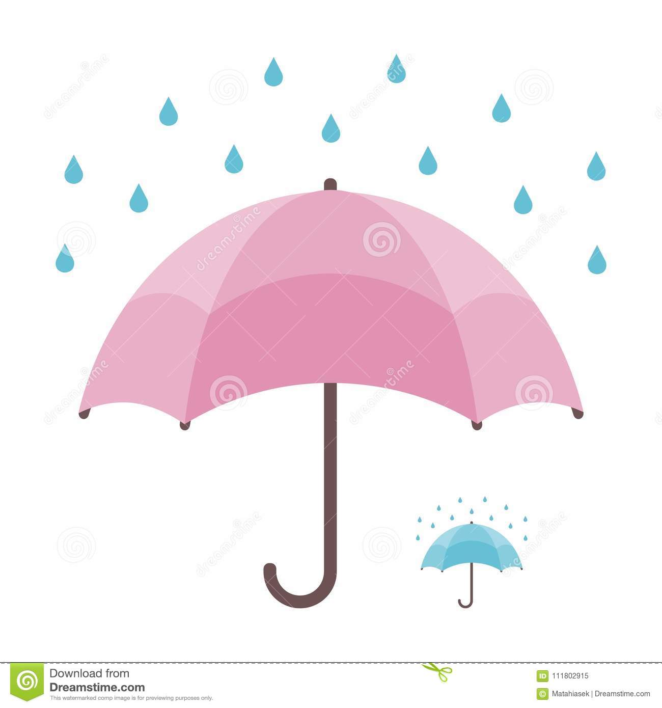 Umbrella and rain isolated on white background and bonus lement