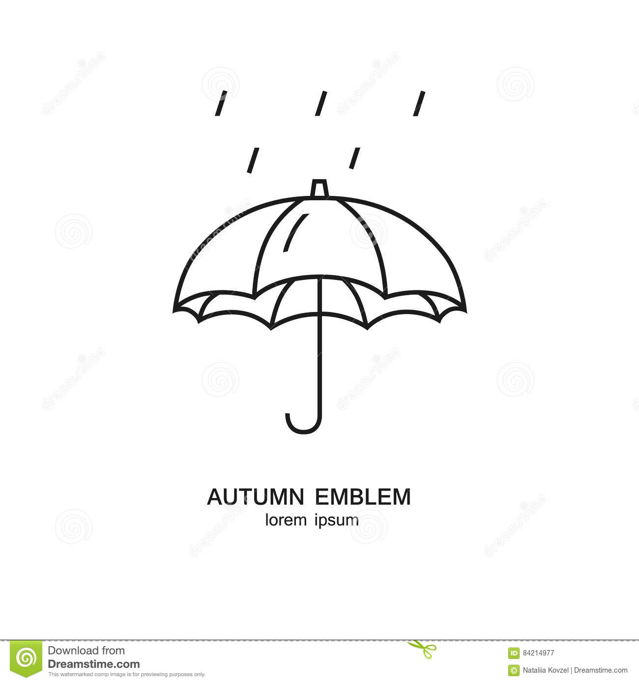 Umbrella And Rain Symbol Made In Trendy Line Style Weather Forecast