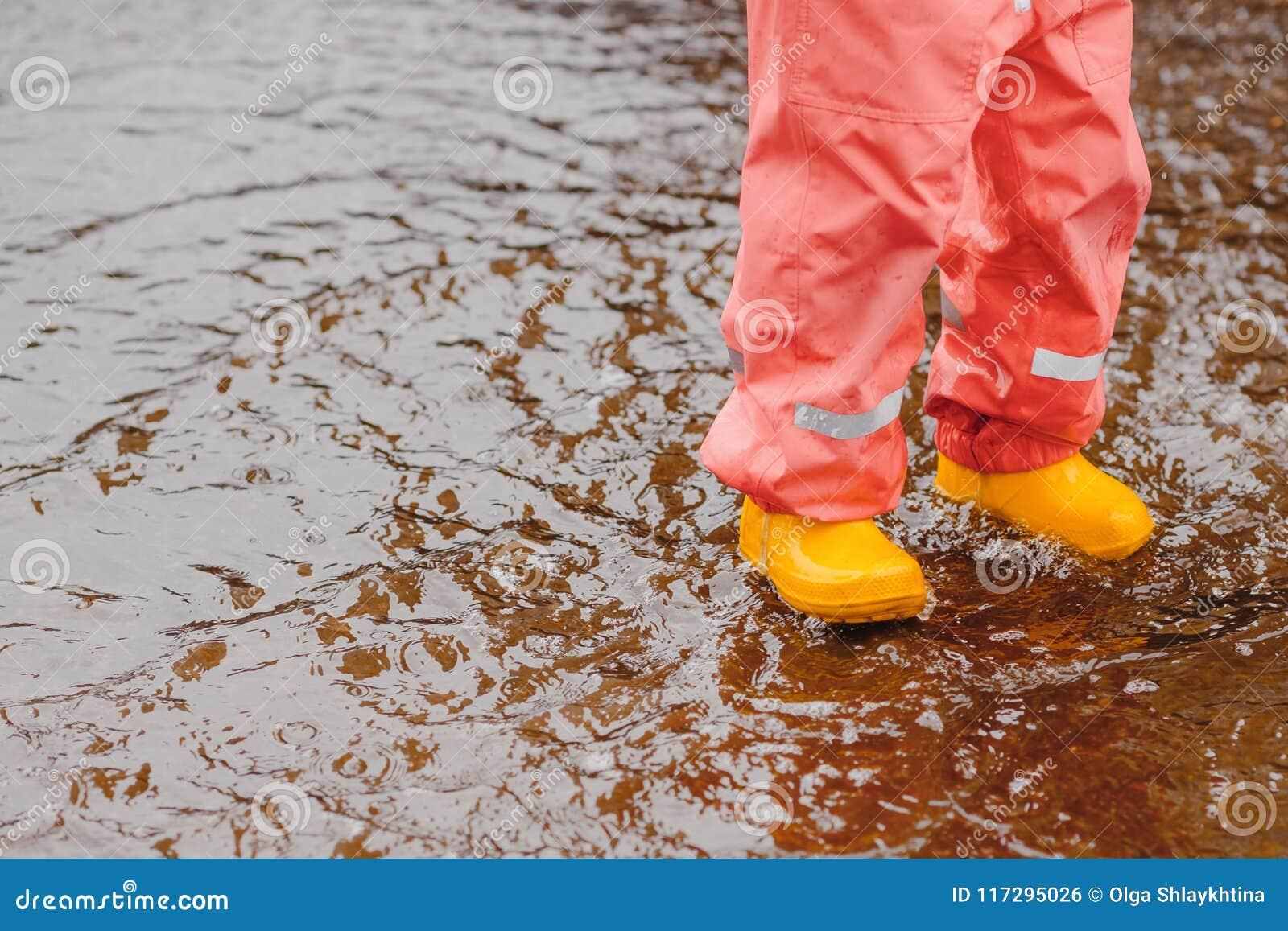 Umbrella red summer yellow boots girl toddler