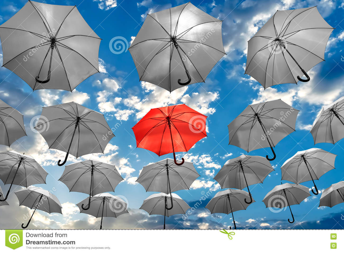 Umbrella standing out from the crowd unique concept mental health depression