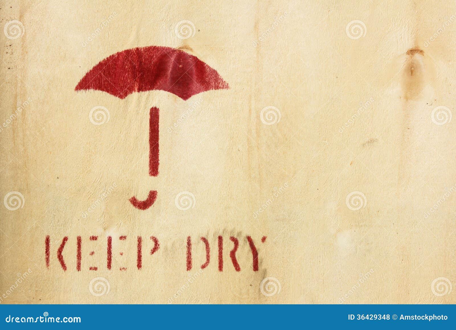 Umbrella Symbol On Box Keep Dry Sign Royalty Free Stock