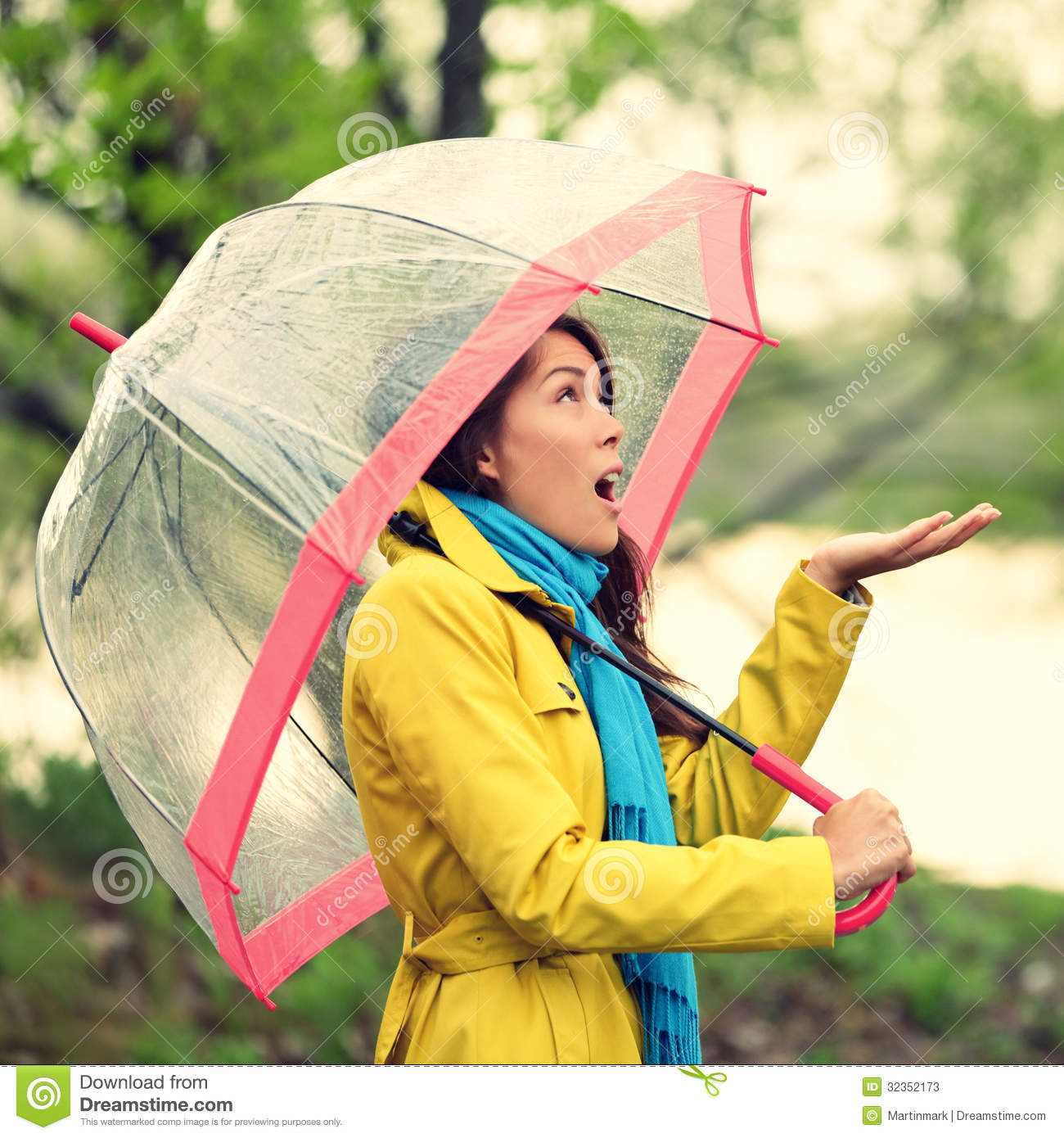 Umbrella Woman In Autumn Excited Under Rain Stock Image ...