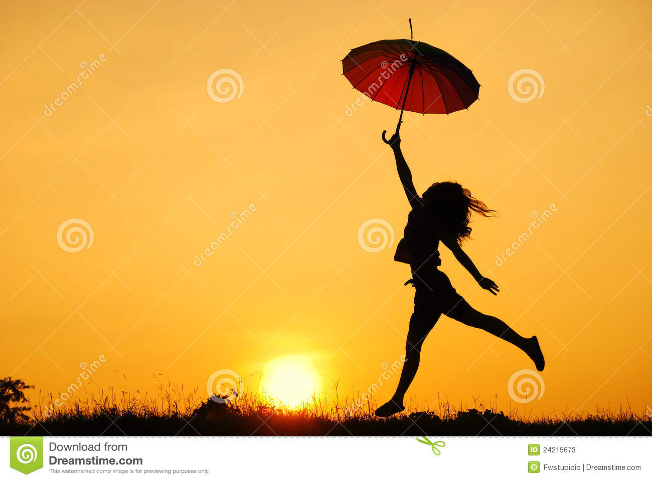 Umbrella Woman Jump And Sunset Silhouette Stock Photos - Image ...