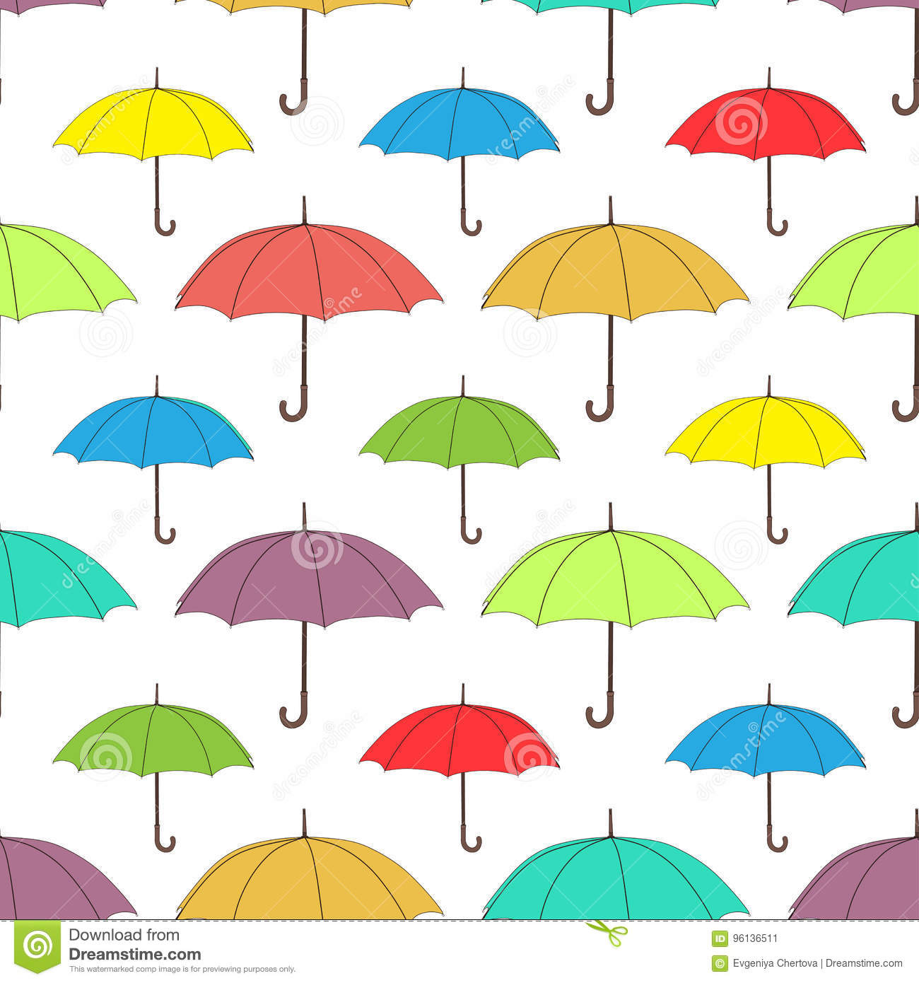 Umbrellas Seamless Pattern Vector Background Multicolored Bright On A White For