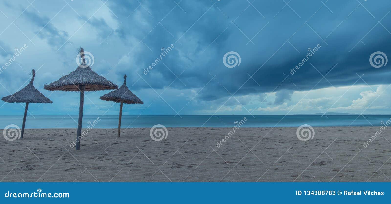 Umbrellas on the storm