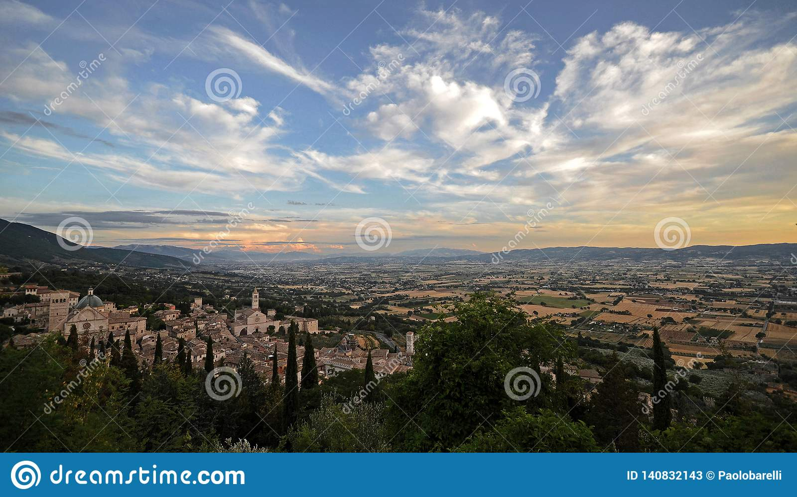 Umbria, Italy, landscape of Assisi town