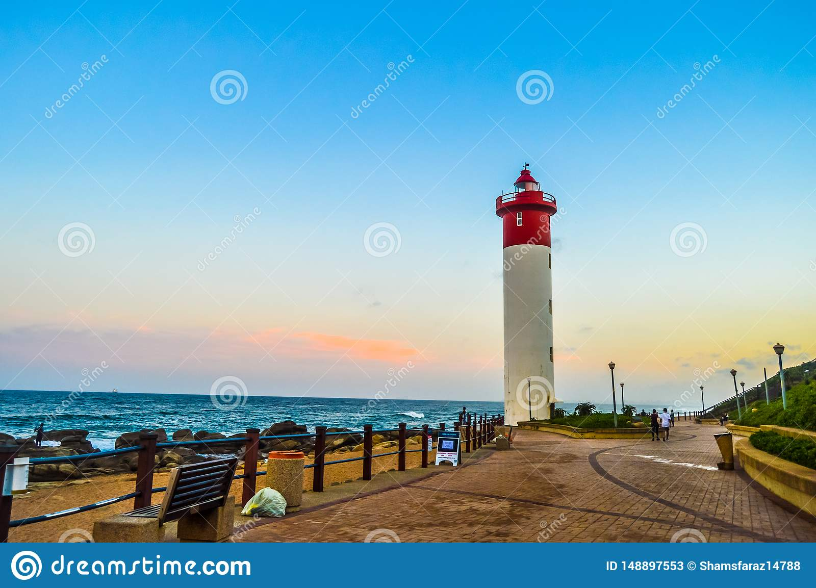 Umhlanga Lighthouse one of the world`s iconic lighthouses in Durban north KZN South Africa