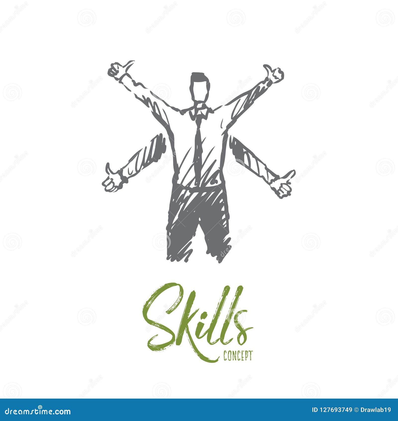 Umiejętności, pracownik, biznes, kariera, sukcesu pojęcie Ręka rysujący odosobniony wektor