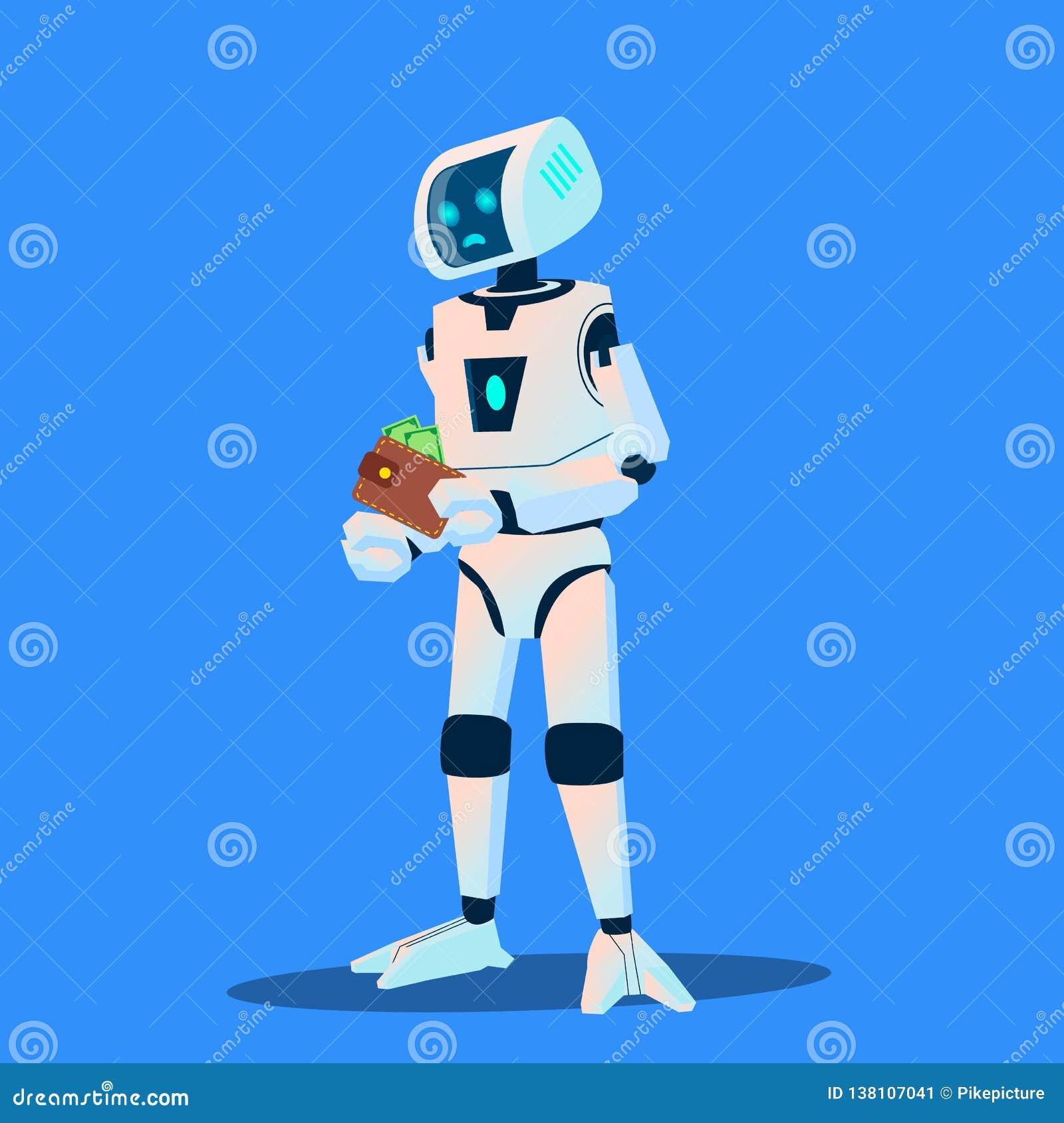 Umkippen-Roboter zählt Geld in seinem Geldbörsen-Vektor Getrennte Abbildung