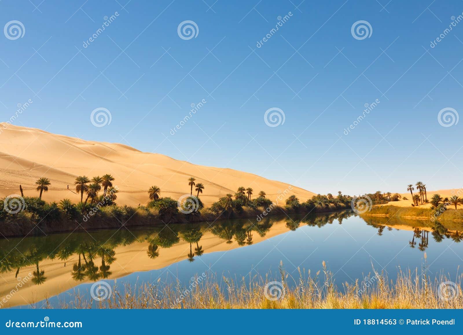 Umm Сахары оазиса Ливии ma озера пустыни al