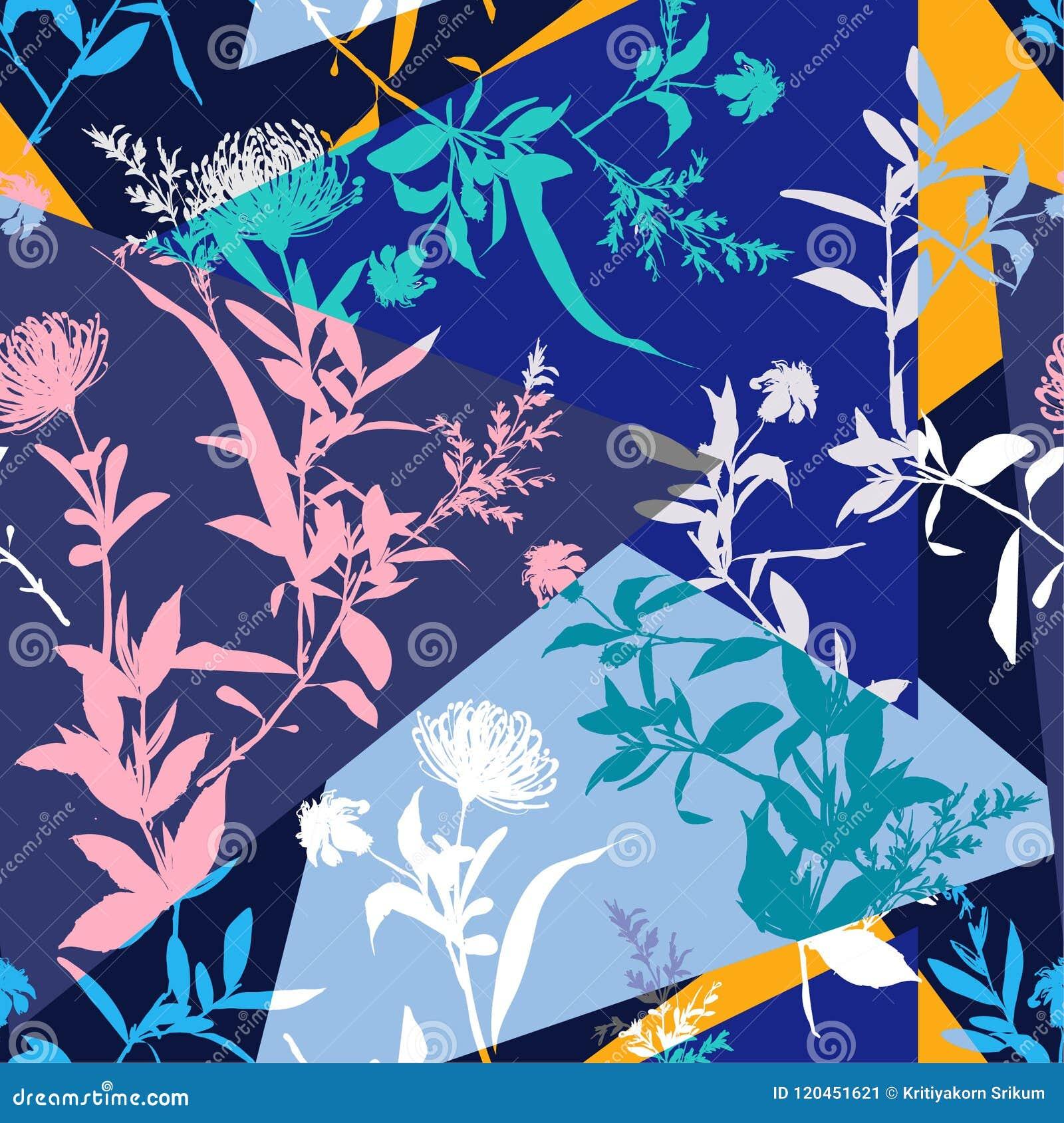Umore moderno di estate della siluetta del collage variopinto del fiore senza cuciture