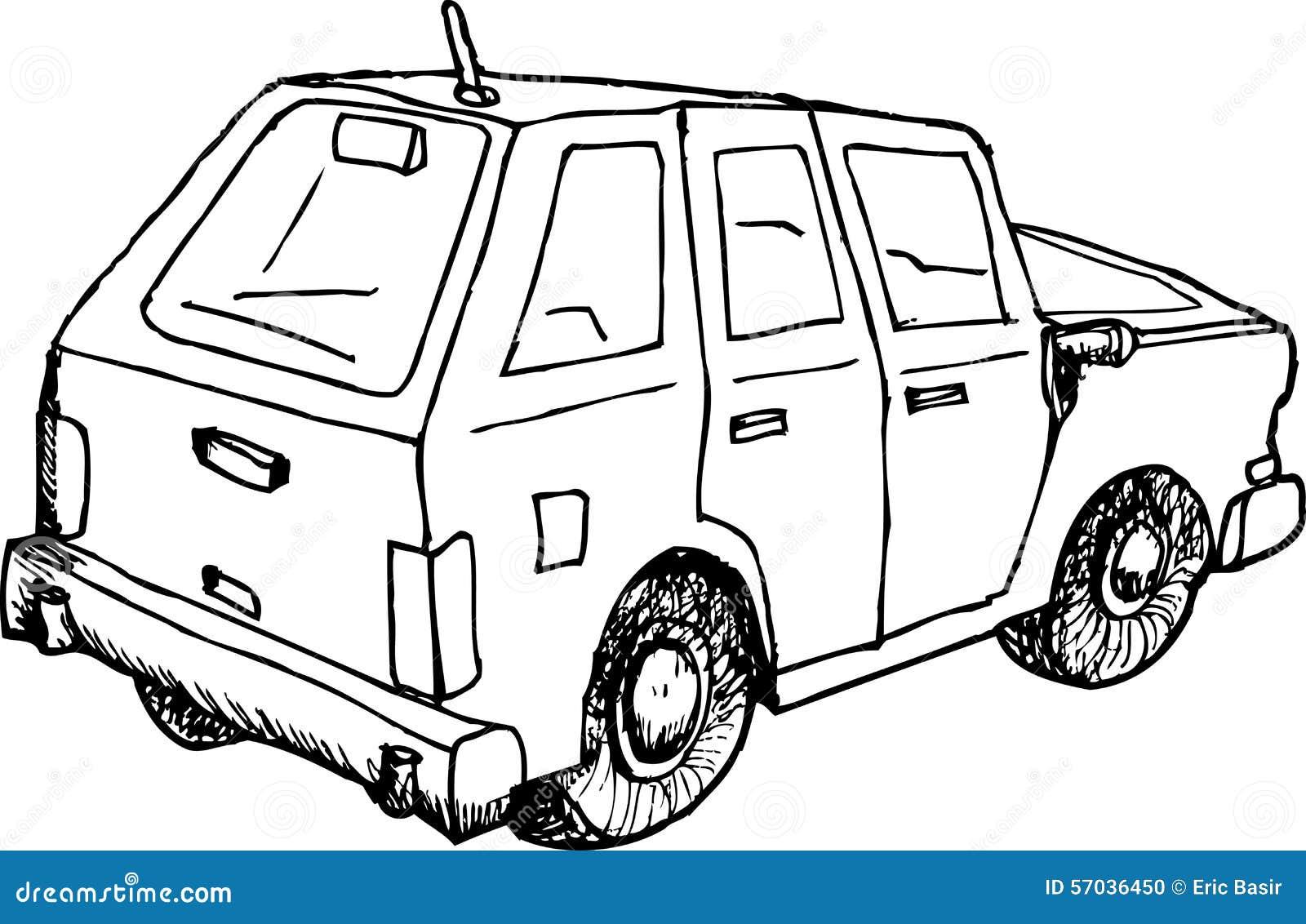 Umrissene Auto-Skizze stock abbildung. Illustration von gezeichnet ...