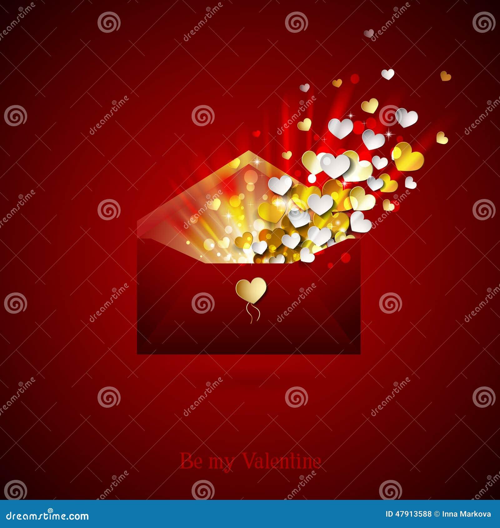 Umschlag Mit Innerem Öffnen Sie Umschlag Mit Inneren Glückwünsche Auf  Valentinstag