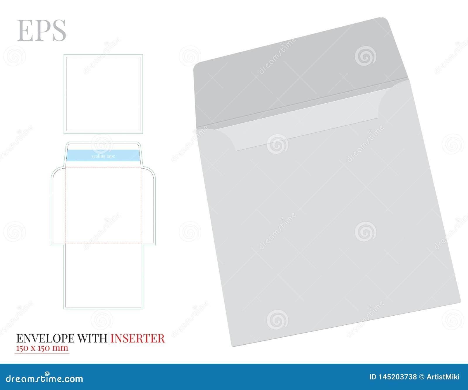 Umschlag-Schablone mit Inserter mit W?rfellinie, Vektor mit gestempelschnitten/Laser schnitt Schichten Wei?, klar, freier Raum, l