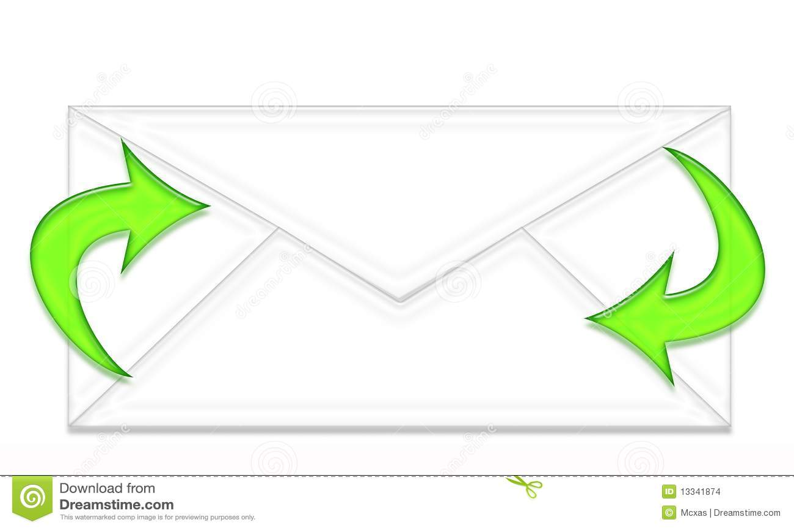 Umschlag und zwei grüne Pfeile