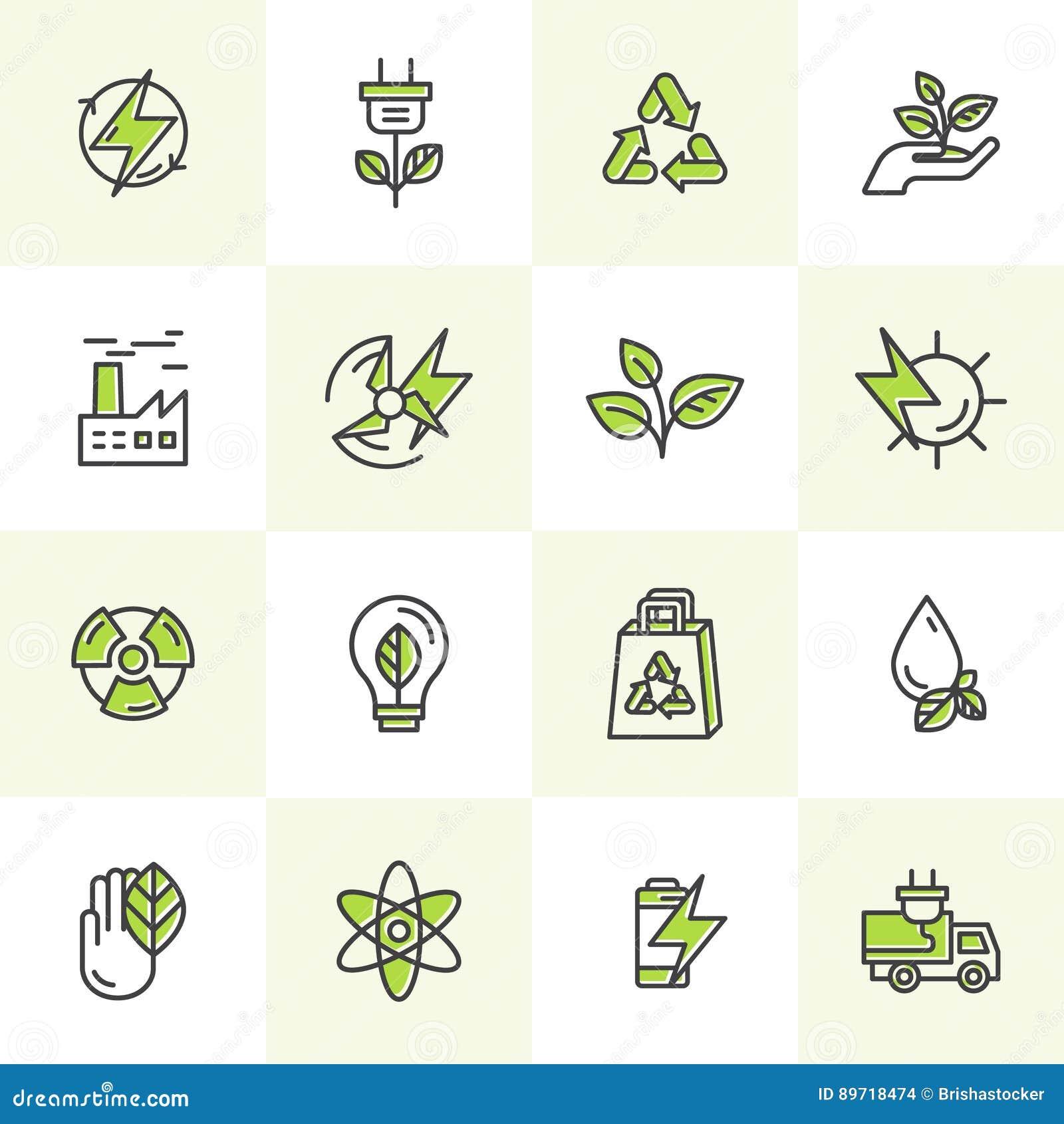 Umwelt, erneuerbare Energie, nachhaltige Technologie, bereitend, Ökologielösungen auf Ikonen für Website, bewegliches APP-Design,