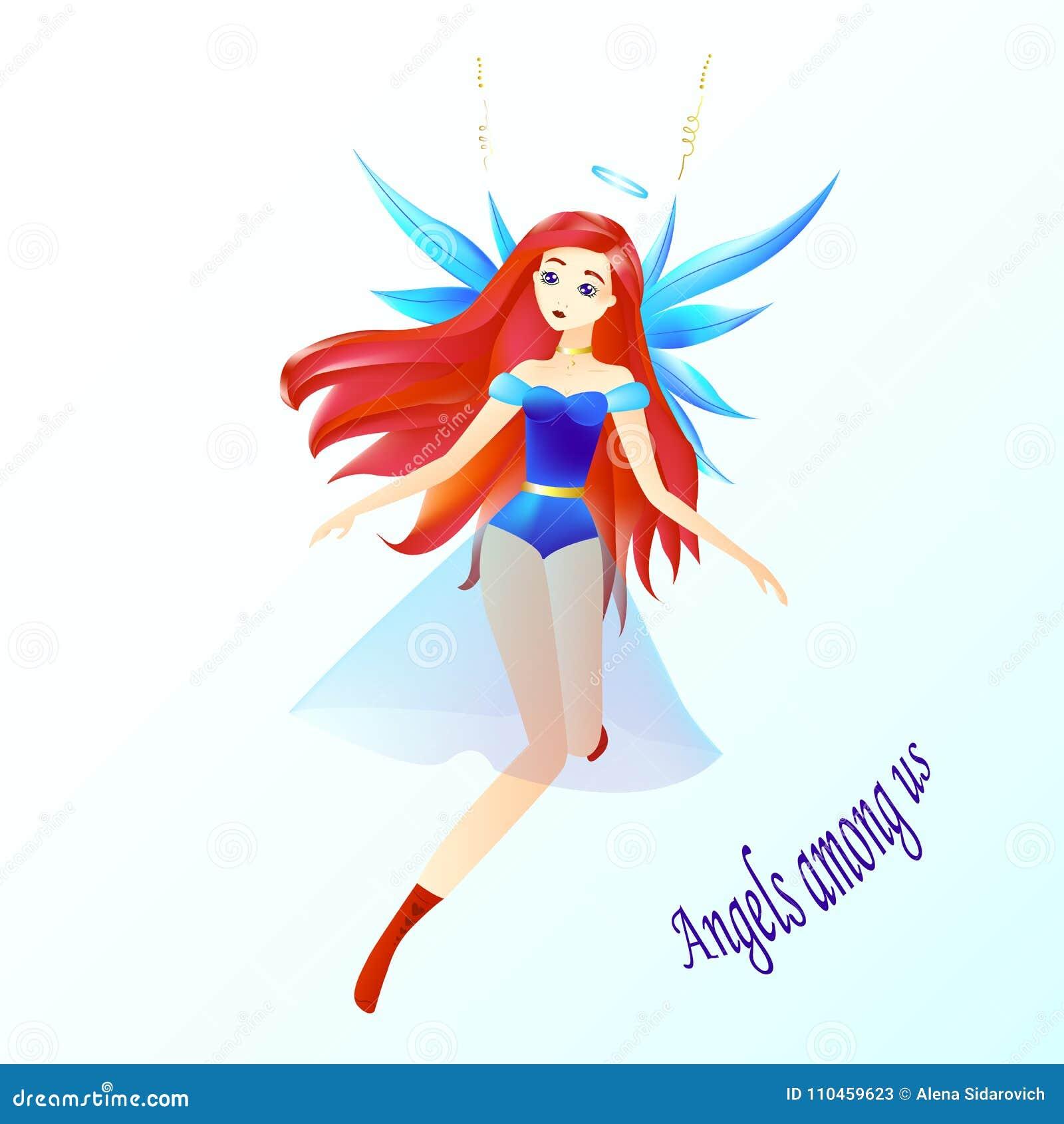 Un ángel, una muchacha con el pelo rojo, un halo y un azul se va volando, los ángeles