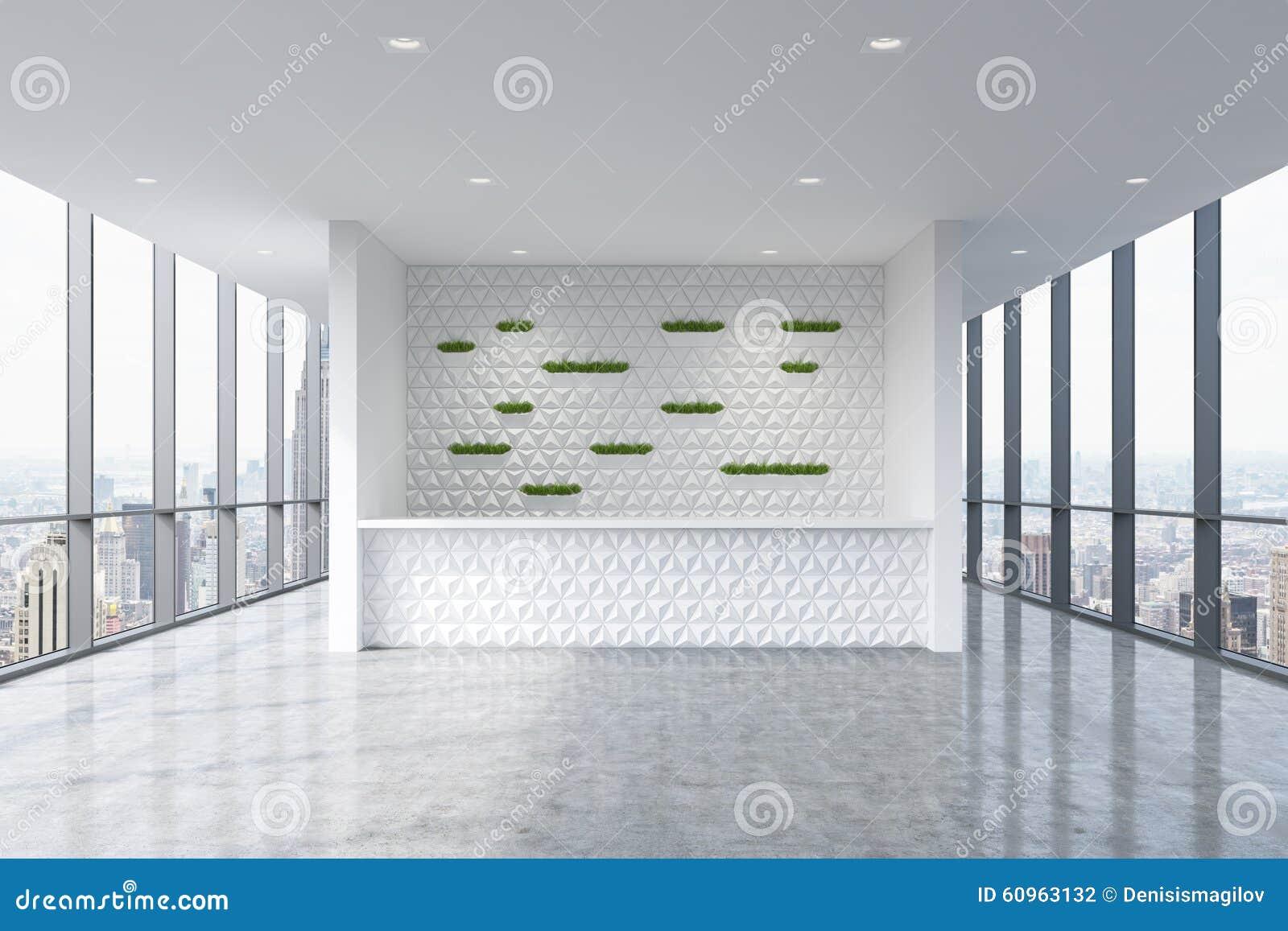 Un área de recepción en un interior limpio brillante moderno de la oficina Ventanas panorámicas enormes con la opinión de Nueva Y
