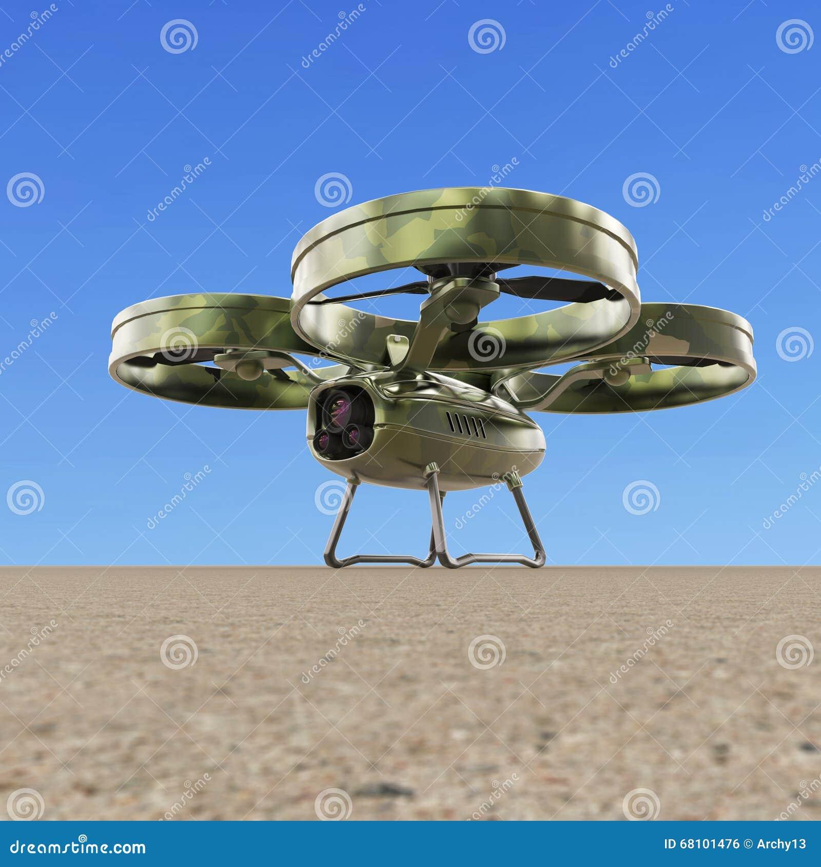 Un Abejón Militar Del Quadrocopter Con La Cámara, Pintura Del ...