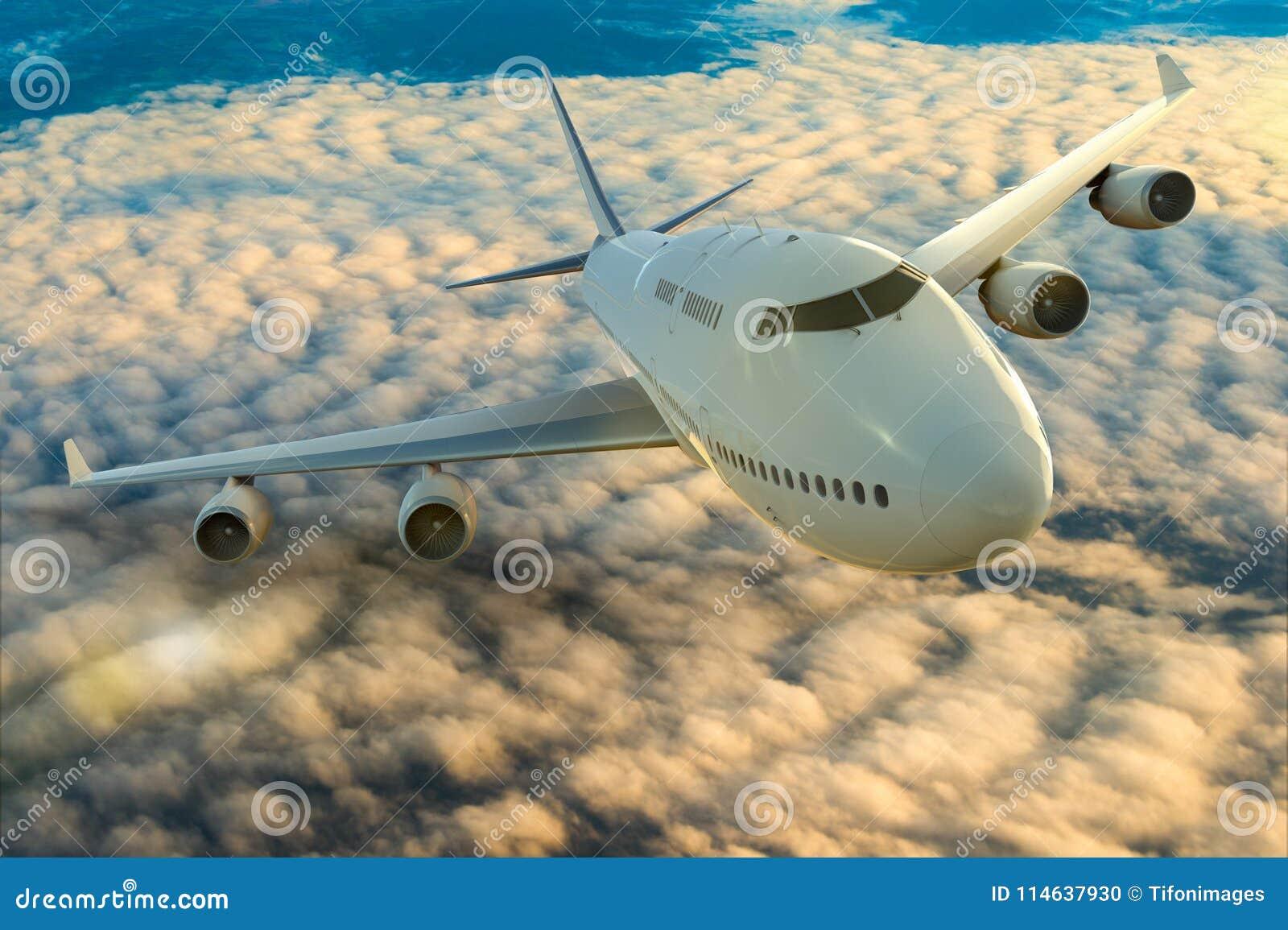 Un aeroplano comercial en vuelo sobre las nubes