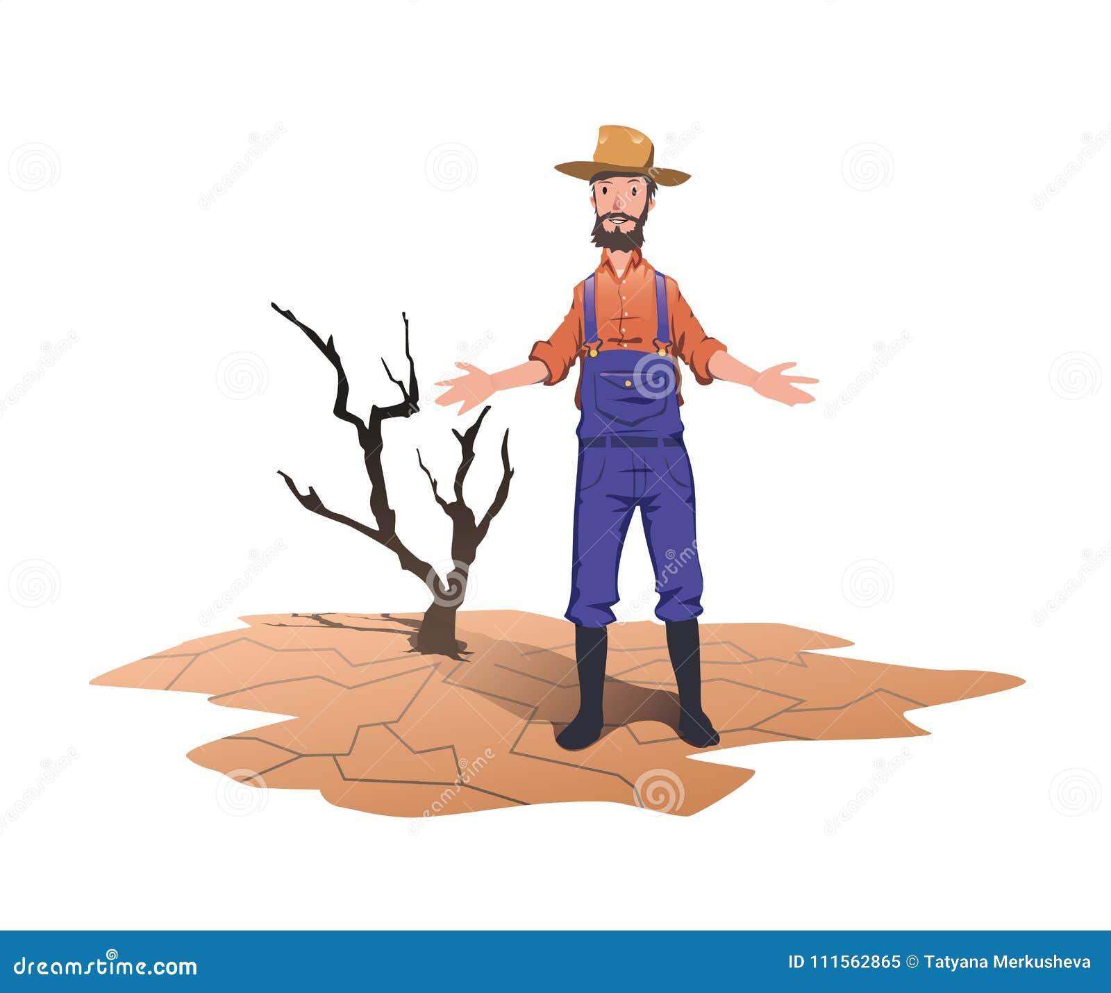 Un agriculteur se tenant à côté d un arbre mort sec Concept sur le thème de la sécheresse, réchauffement global, manque de l eau