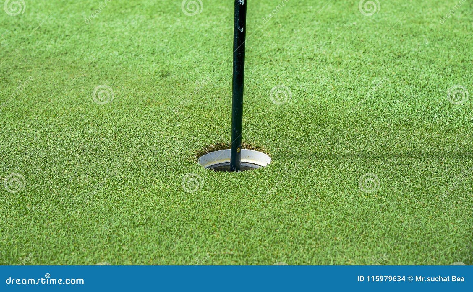 Un agujero de la pelota de golf en campo de golf