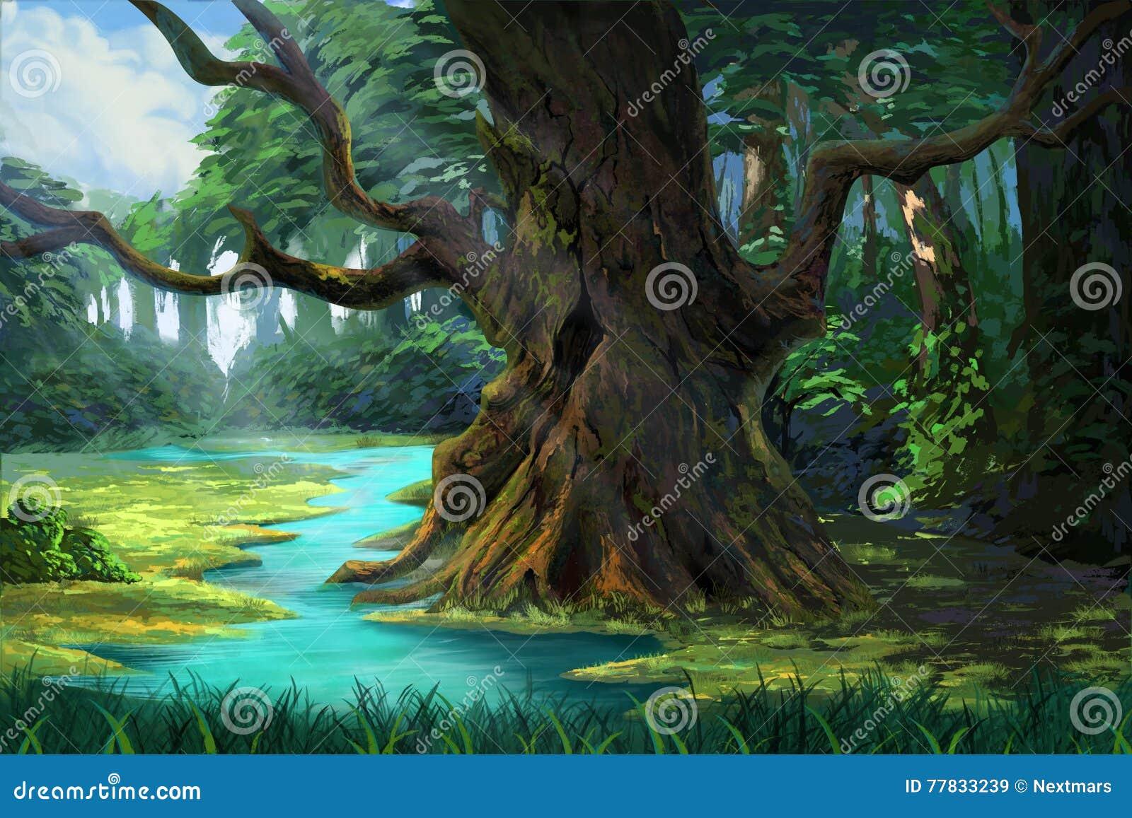 Un Albero Antico Nella Foresta Dalla Riva Del Fiume Illustrazione Di