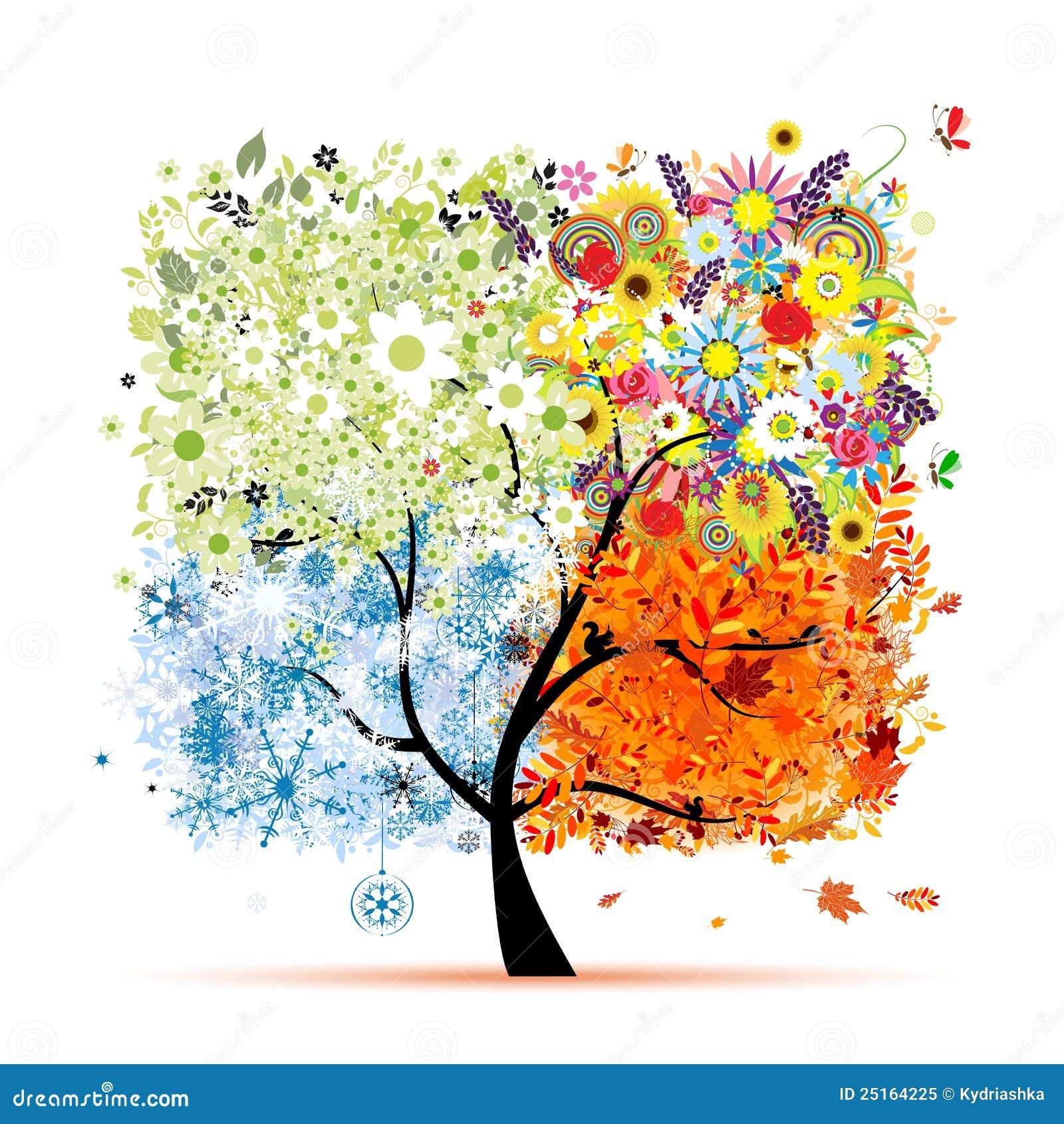 Un albero di quattro stagioni fotografia stock libera da - Animali in inverno clipart ...