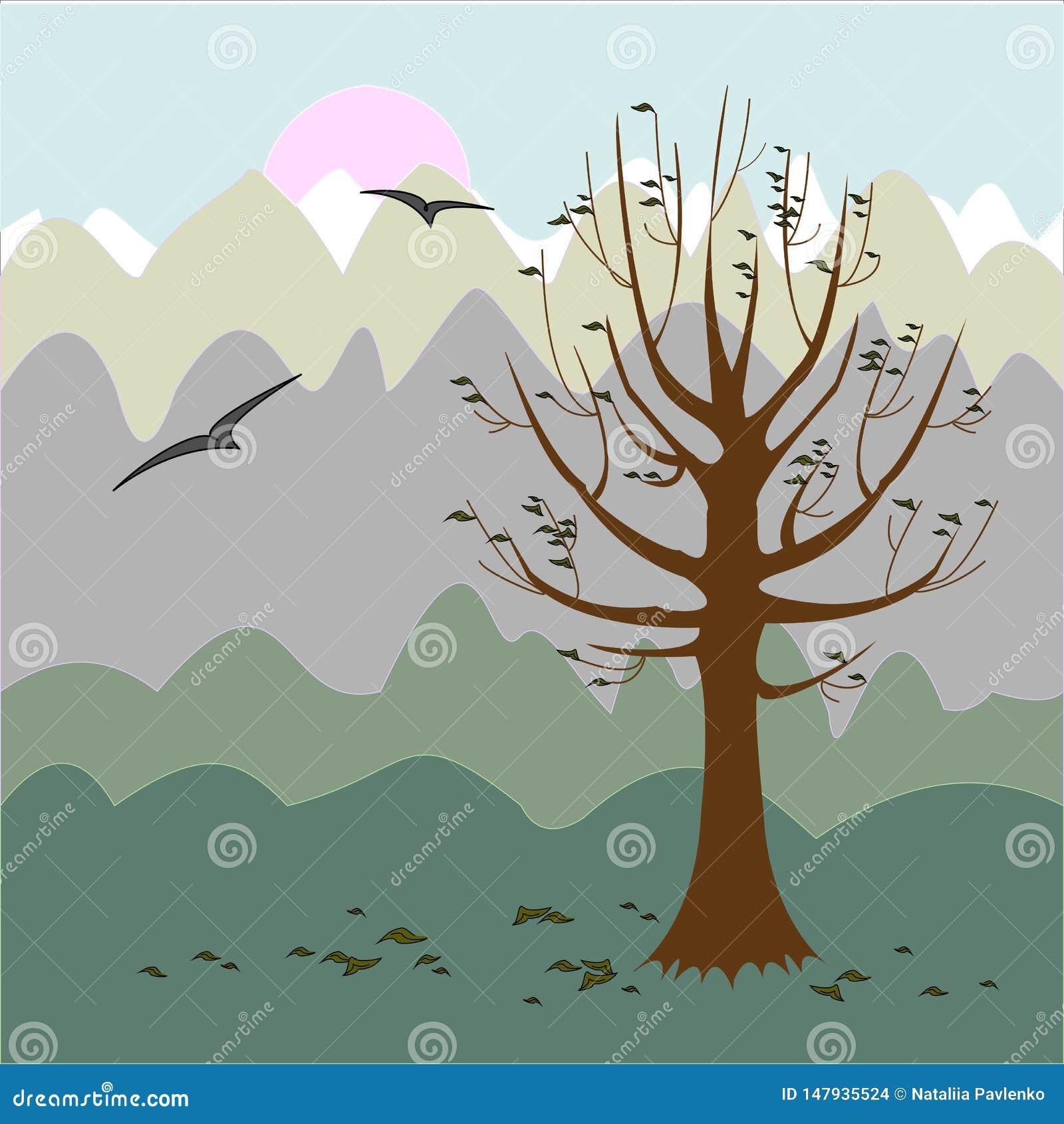 Un albero senza fogli Umore filosofico Priorit? bassa di autunno Illustrazione di vettore
