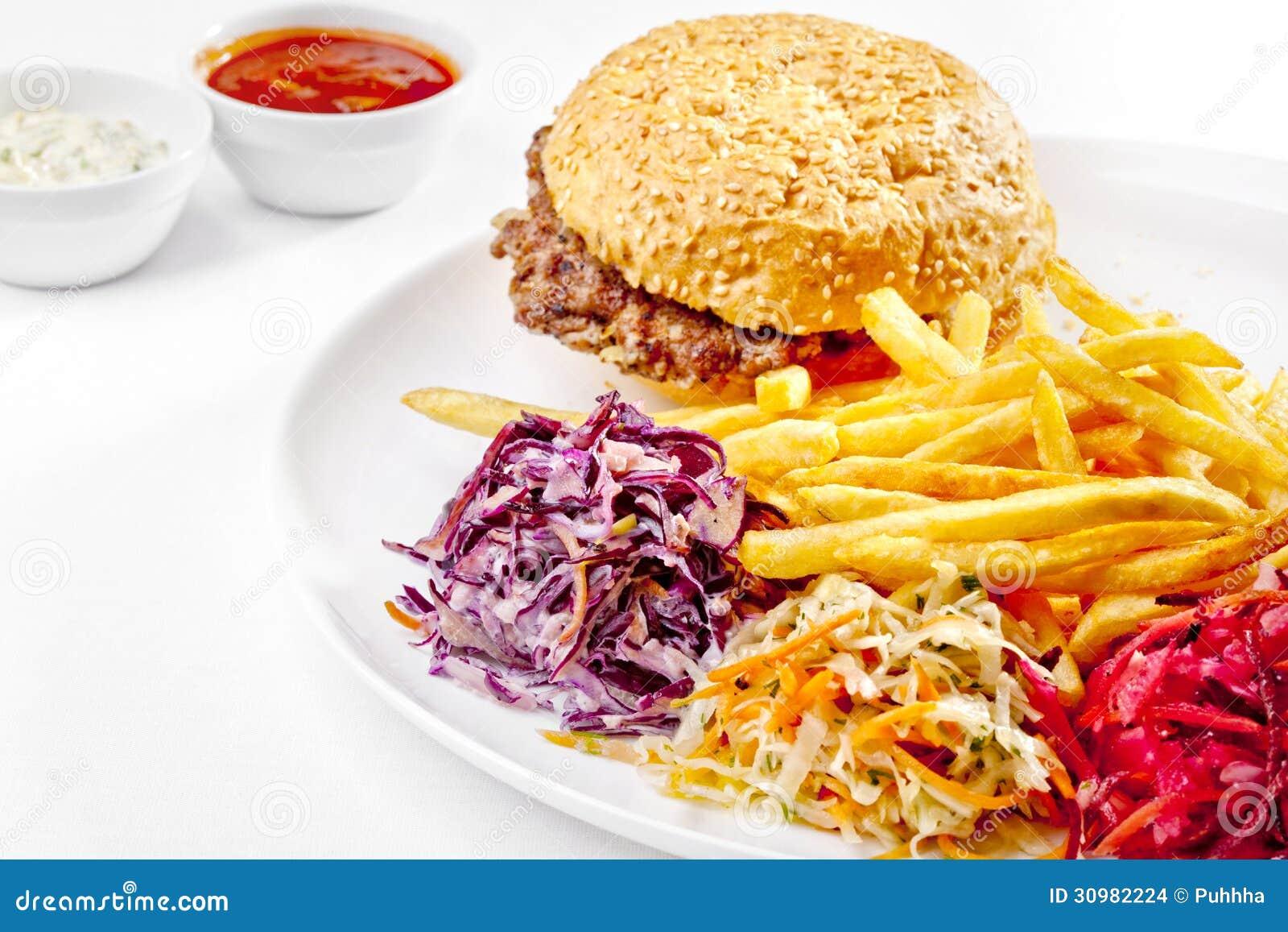 un aliment savoureux grand hamburger pommes frites image de haute qualit photo stock image. Black Bedroom Furniture Sets. Home Design Ideas