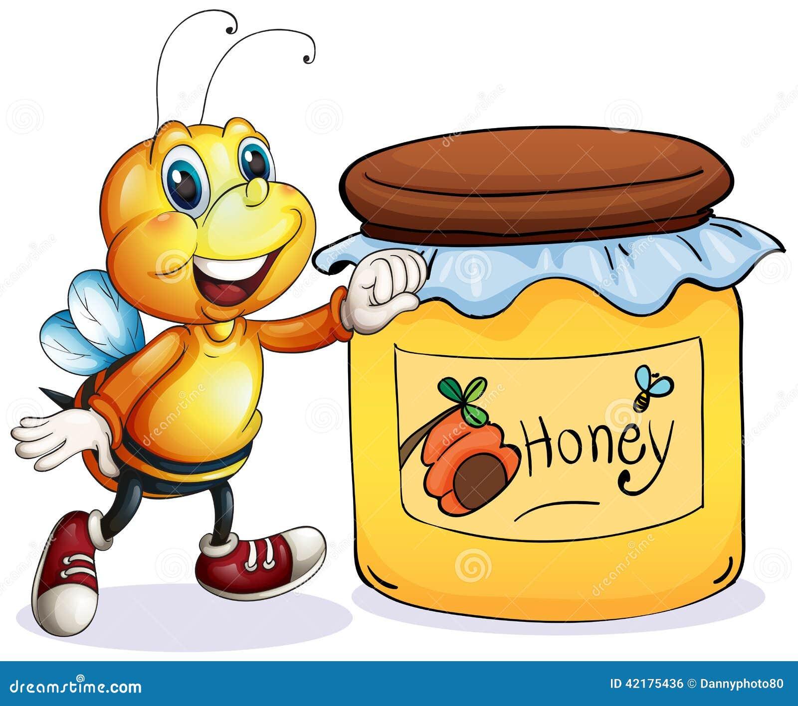 Favoloso Un'ape Accanto Al Barattolo Di Miele Illustrazione di Stock  YG09