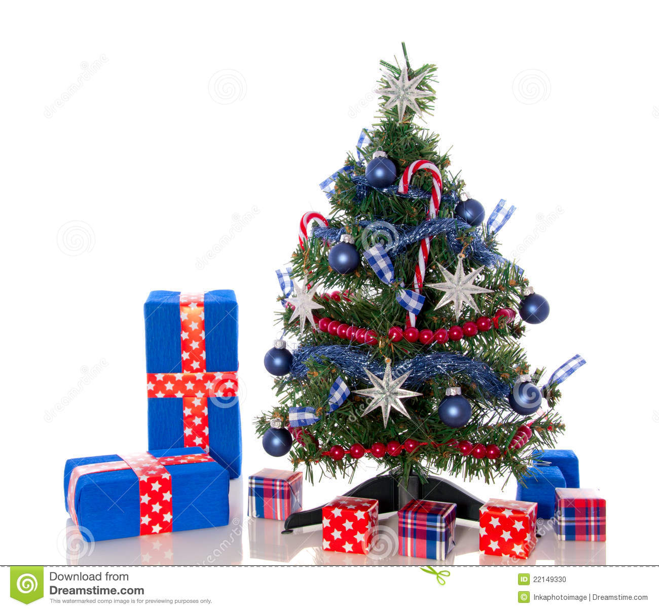 Un arbre de no l bleu blanc rouge photo stock image 22149330 - Photo arbre de noel decore ...