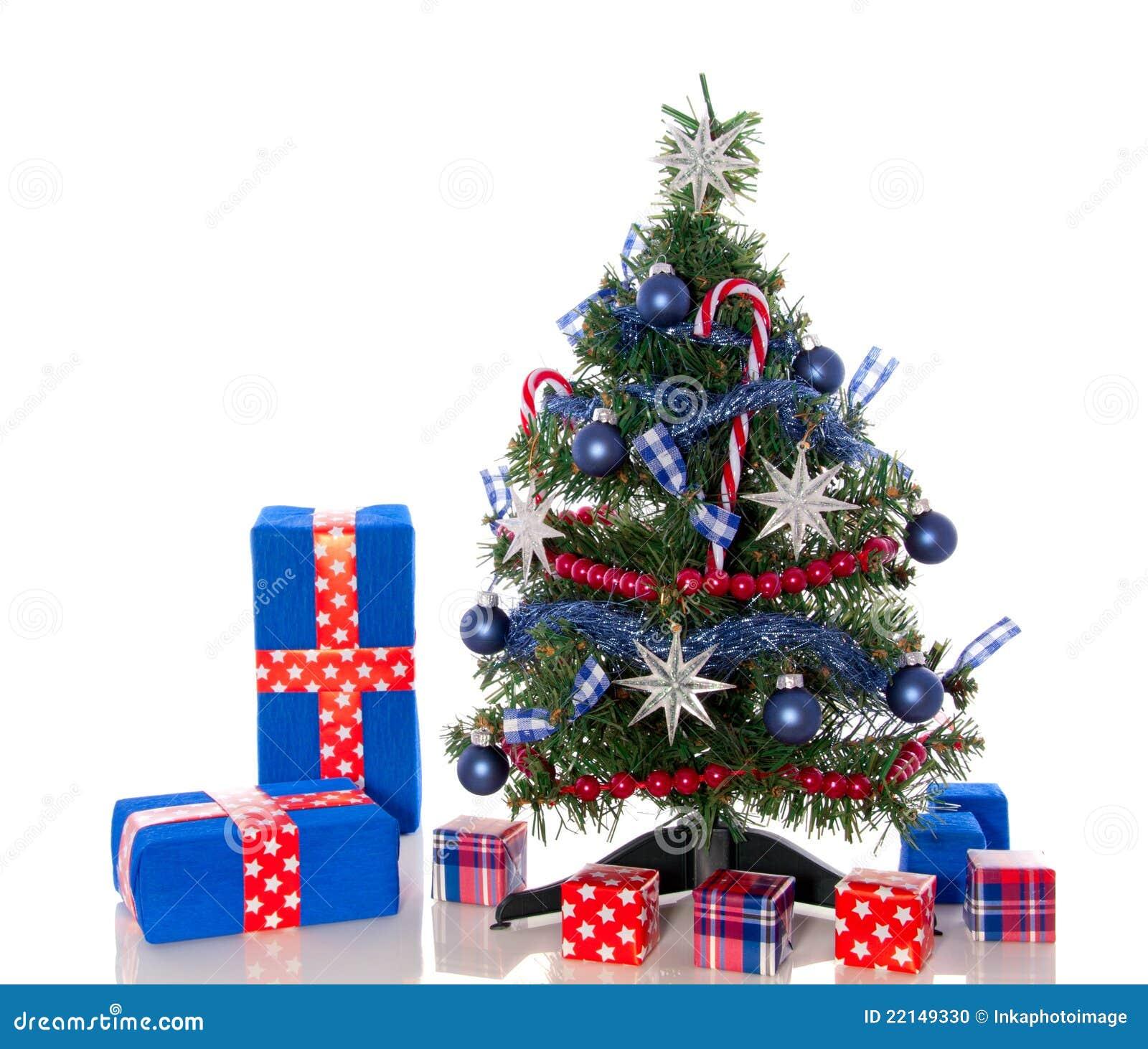un arbre de no l bleu blanc rouge photo stock image 22149330. Black Bedroom Furniture Sets. Home Design Ideas