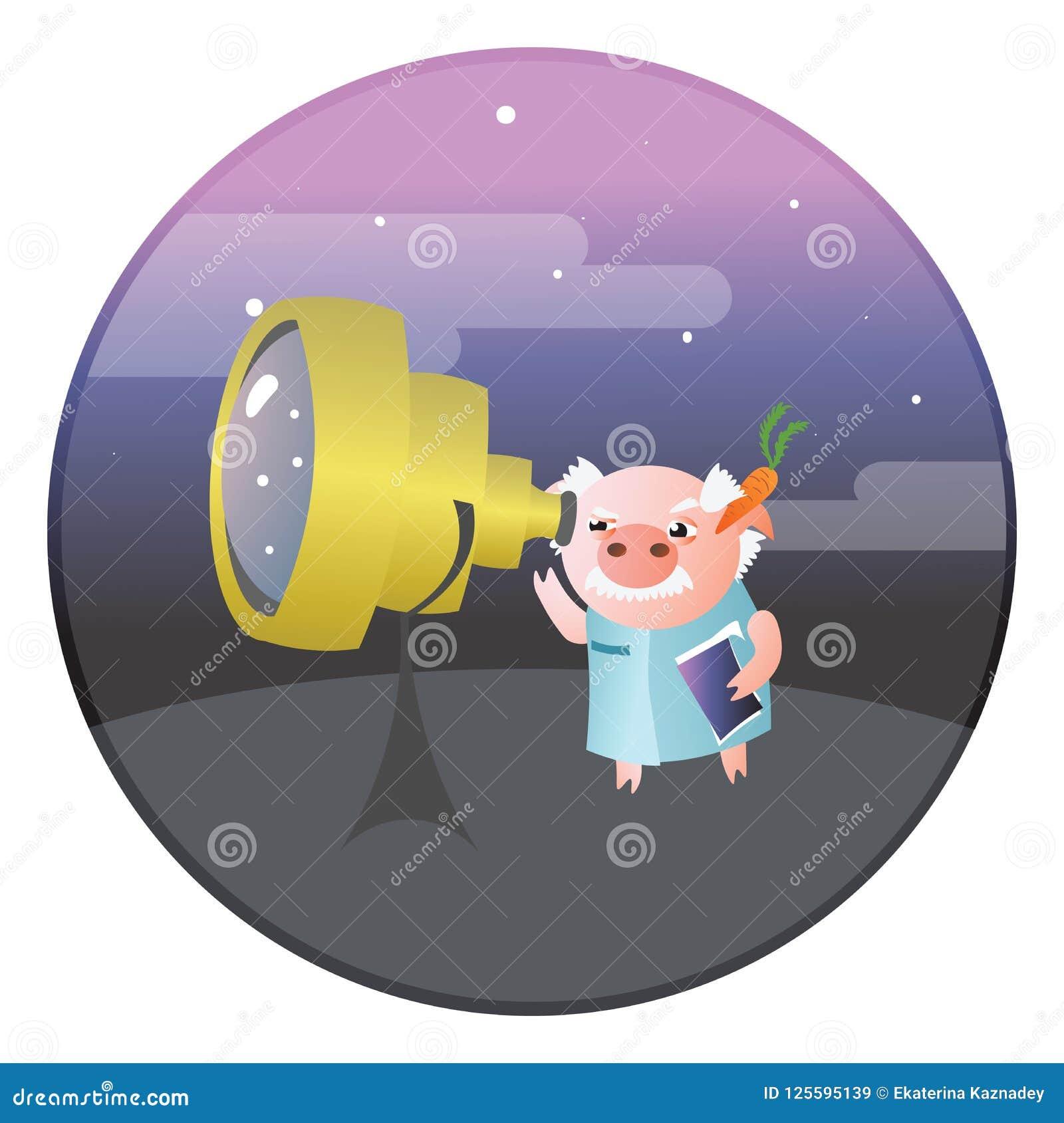 Un astrónomo divertido del cerdo con el telescopio