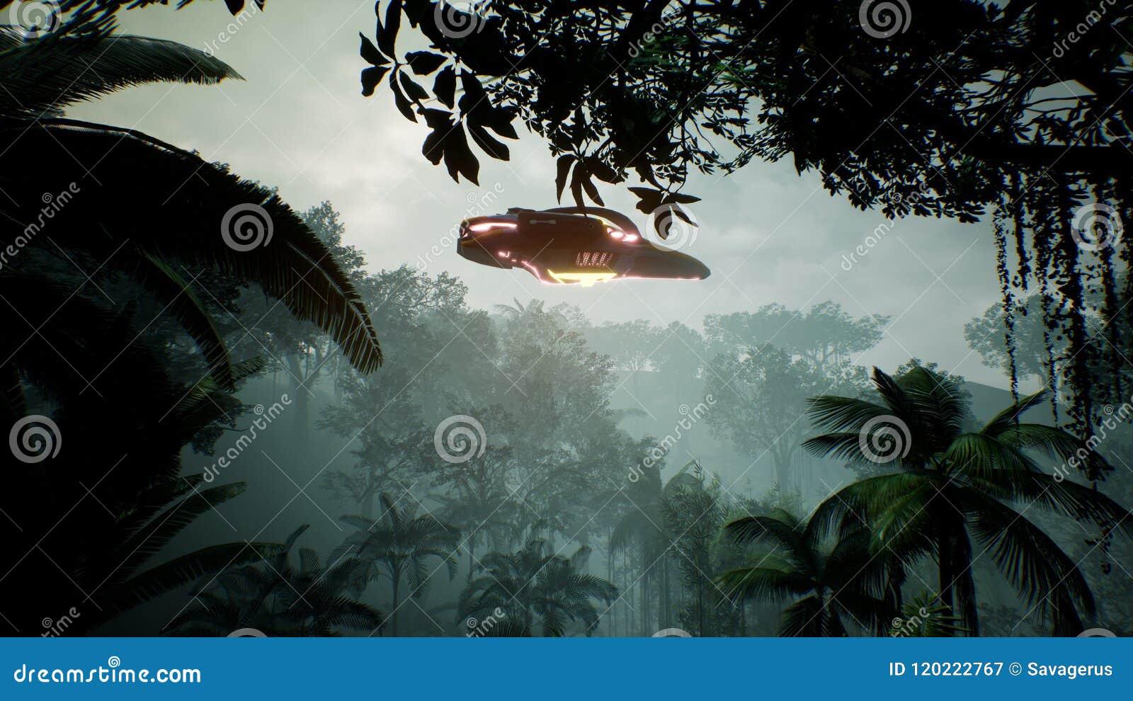 Un astronave che sorvola un pianeta verde sconosciuto Un concetto futuristico di un UFO rappresentazione 3d