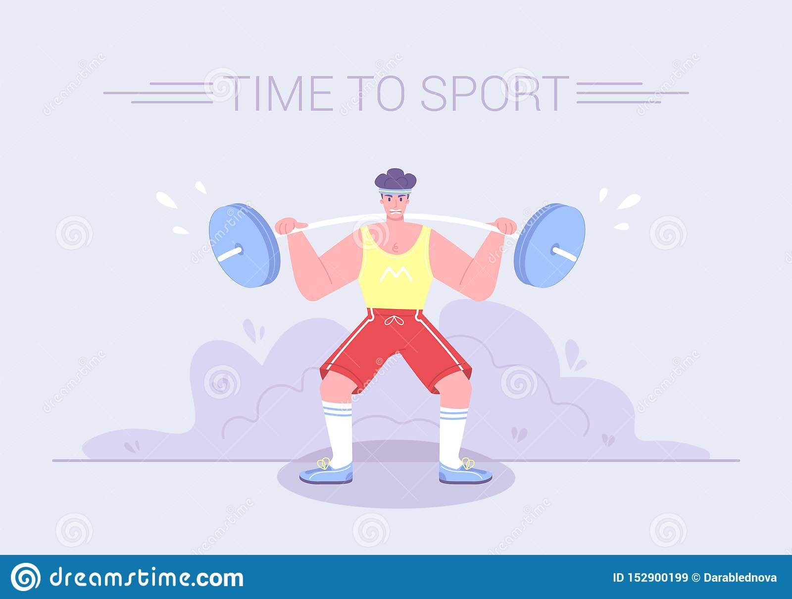 Un atleta tenso fuerte aumenta una barbilla pesada