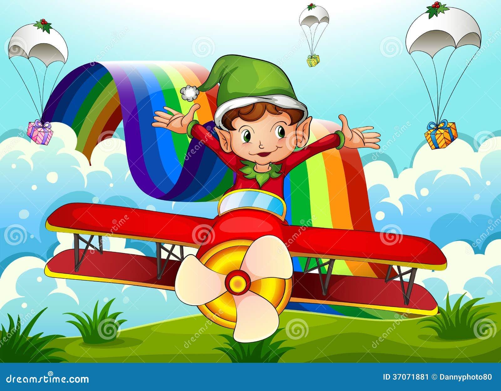 Un avion avec un elfe et un arc-en-ciel dans le ciel avec des parachutes